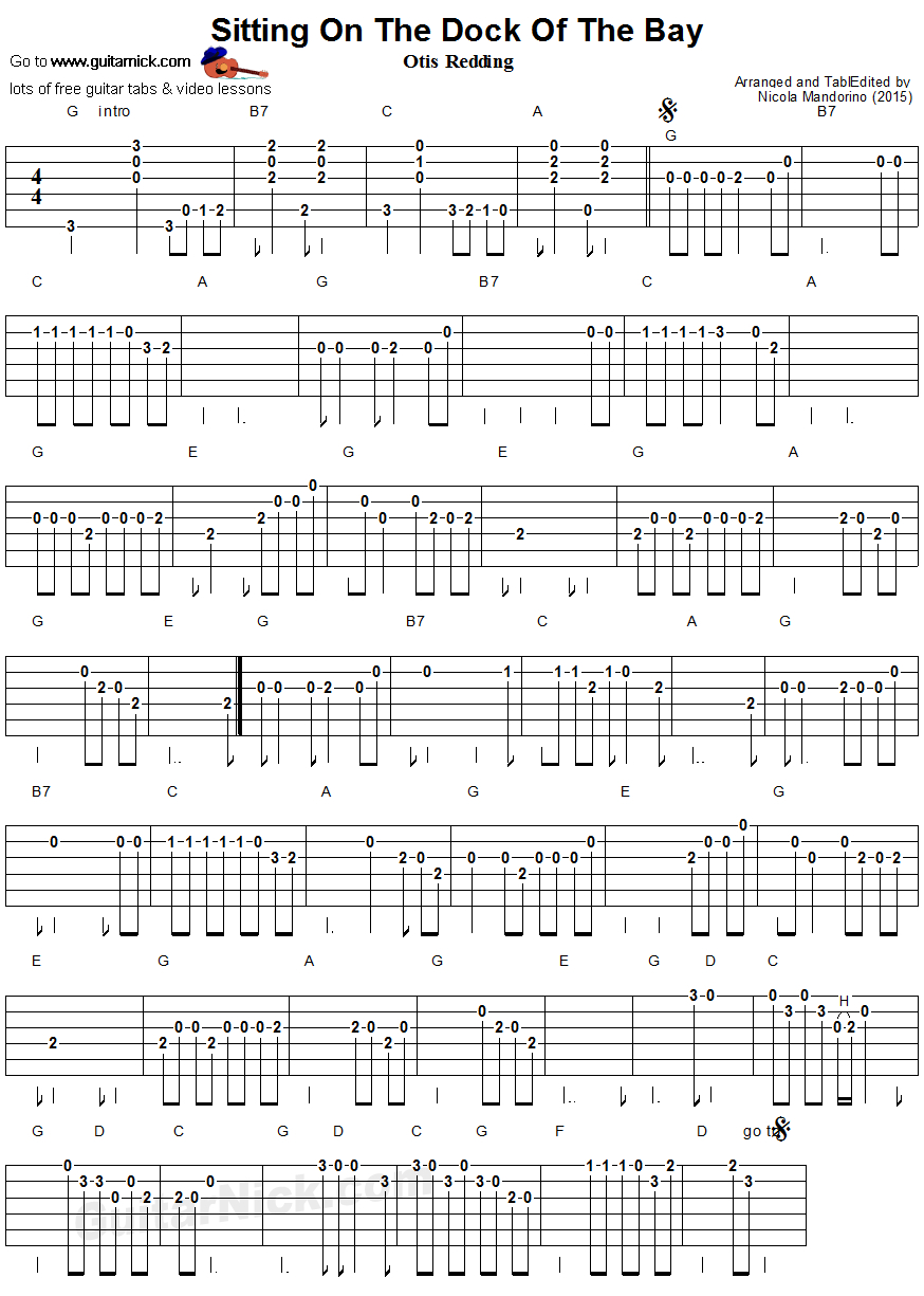 Sitting On The Dock Of The Bay Chords Sitting On The Dock Of The Bay Easy Guitar Tab Guitarnick