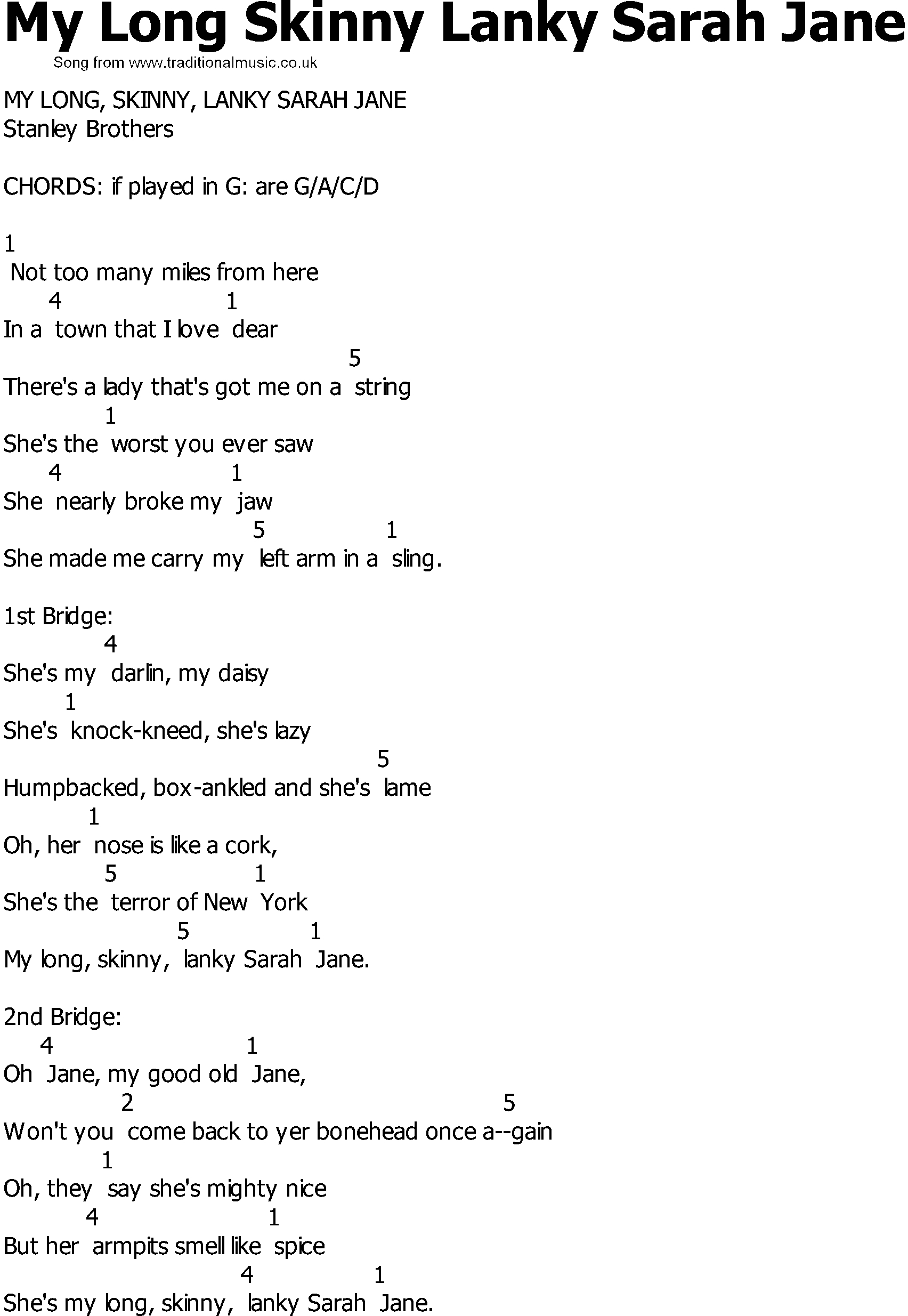 Skinny Love Chords Old Country Song Lyrics With Chords My Long Skinny Lanky Sarah Jane