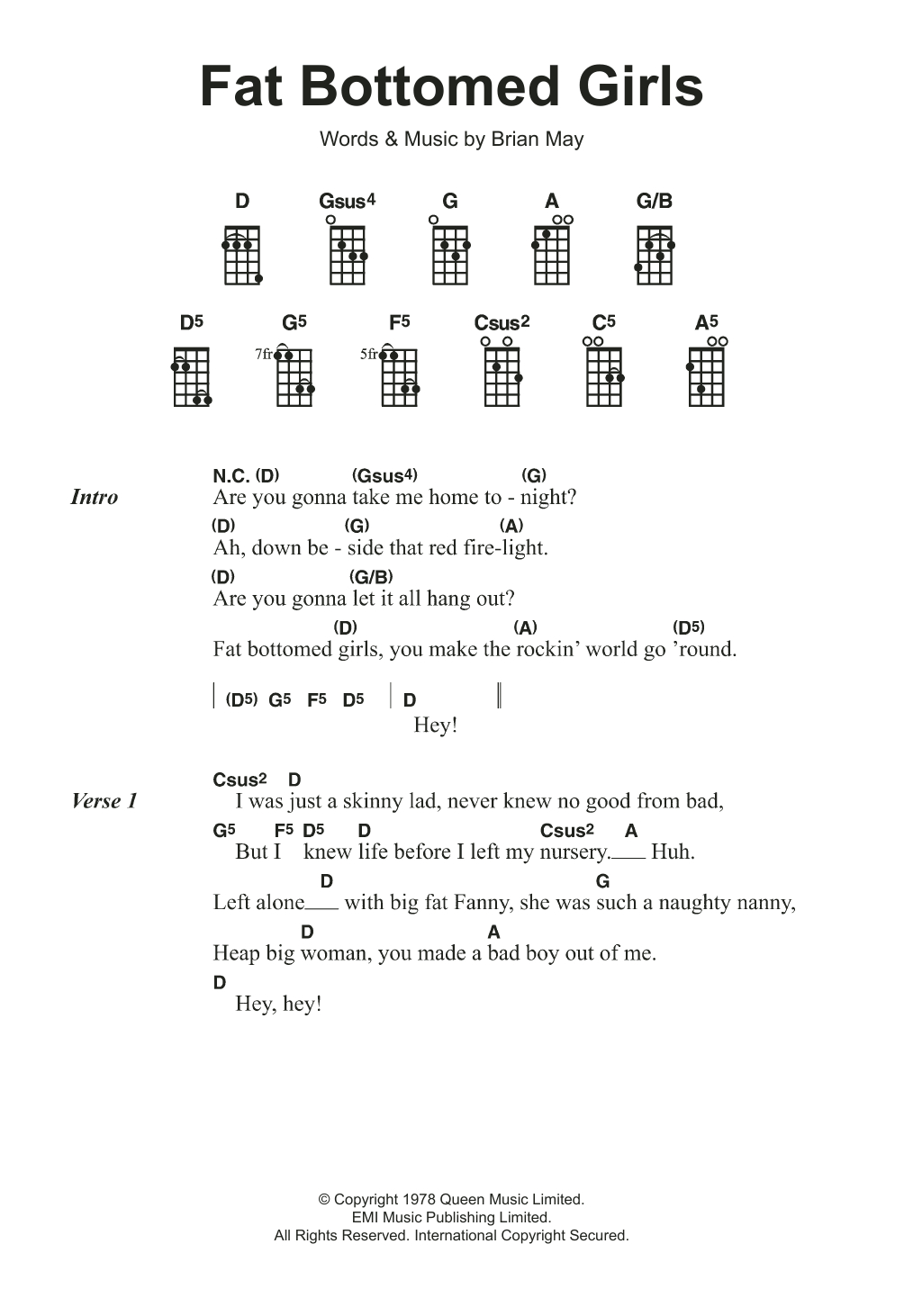Skinny Love Ukulele Chords Fat Bottomed Girls Queen Ukulele Guitar Instructor