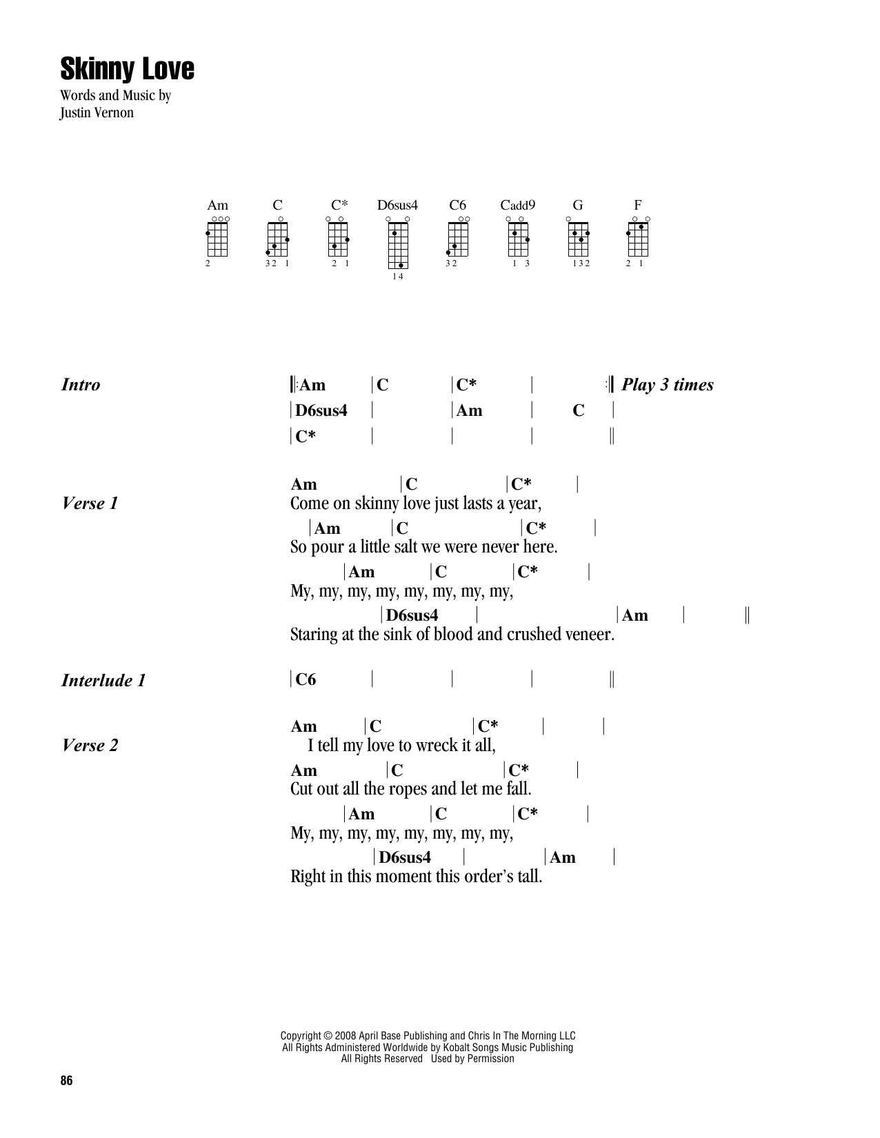 Skinny Love Ukulele Chords Skinny Love Bon Iver Piano Vocal Guitar Digital Sheet Music