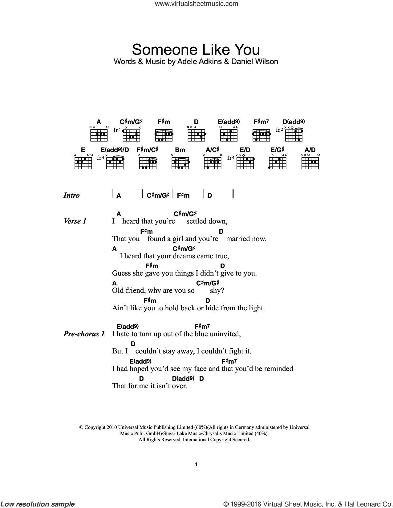 Someone Like You Chords Adele Someone Like You Sheet Music For Guitar Chords Pdf