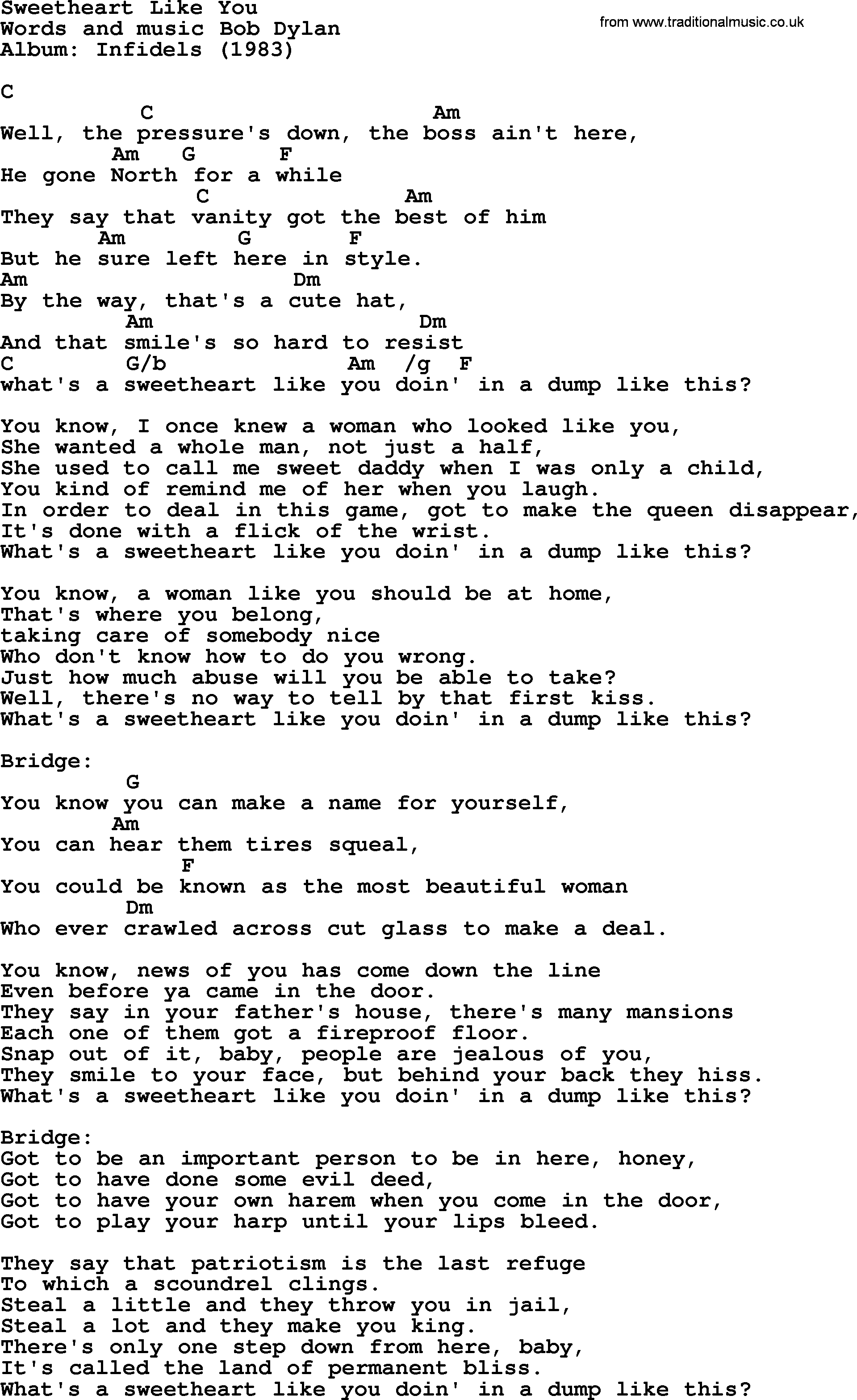 Someone Like You Chords Bob Dylan Song Sweetheart Like You Lyrics And Chords
