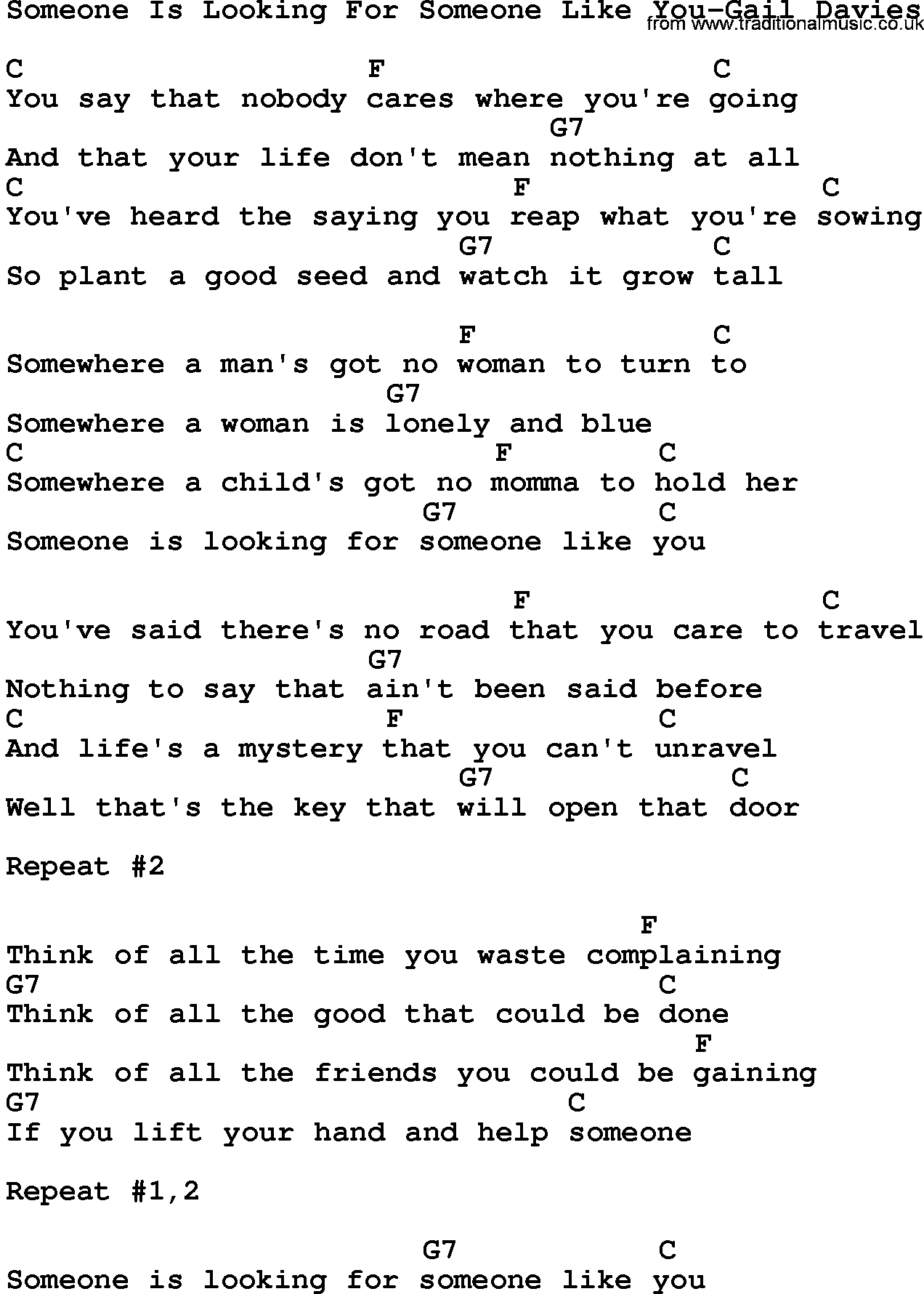 Someone Like You Chords Country Musicsomeone Is Looking For Someone Like You Gail Davies