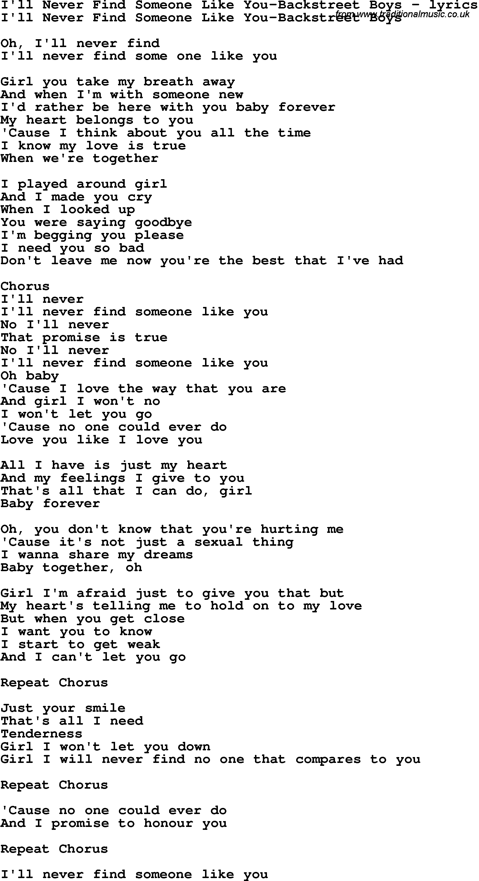 Someone Like You Chords Love Song Lyrics Forill Never Find Someone Like You Backstreet Boys