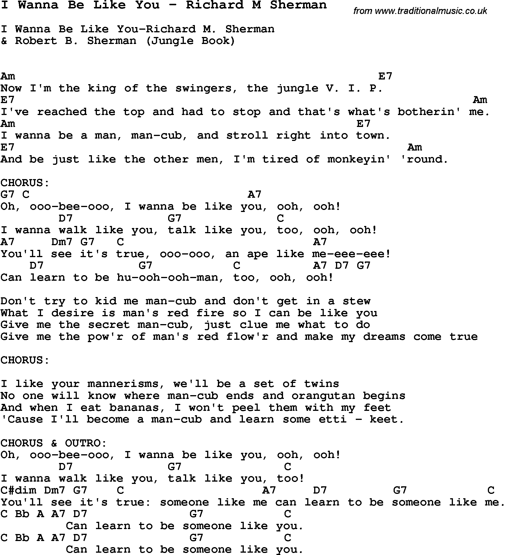 Someone Like You Chords Song I Wanna Be Like You Richard M Sherman Song Lyric For Vocal