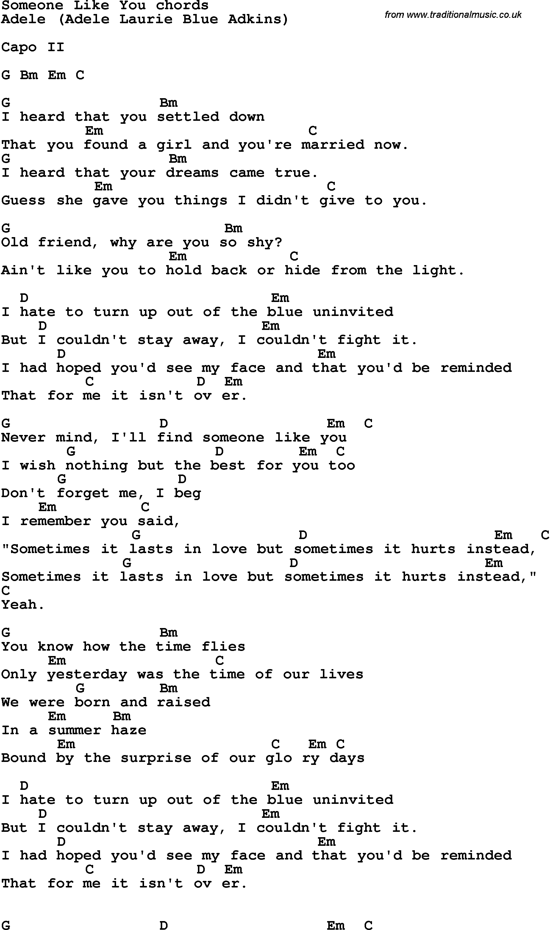 Someone Like You Chords Song Lyrics With Guitar Chords For Someone Like You