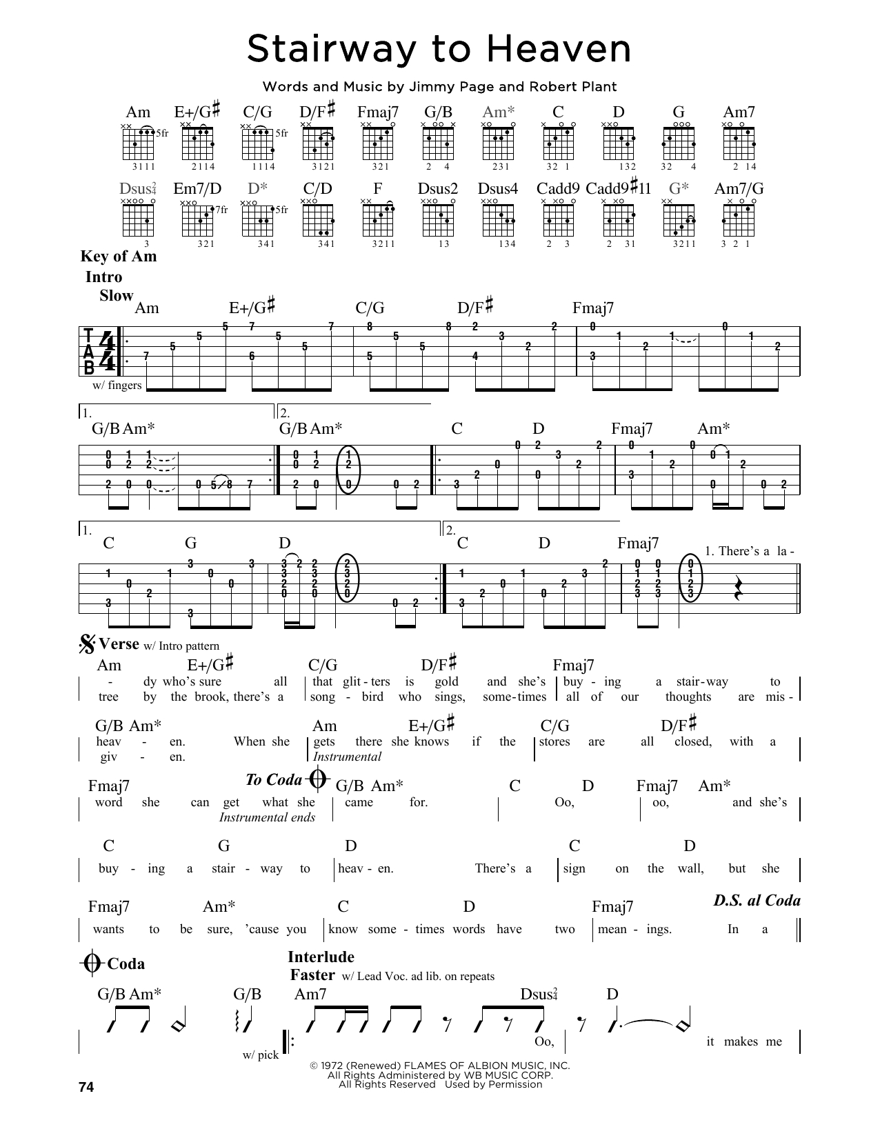 Stairway To Heaven Chords Stairway To Heaven Led Zeppelin Guitar Lead Sheet Guitar
