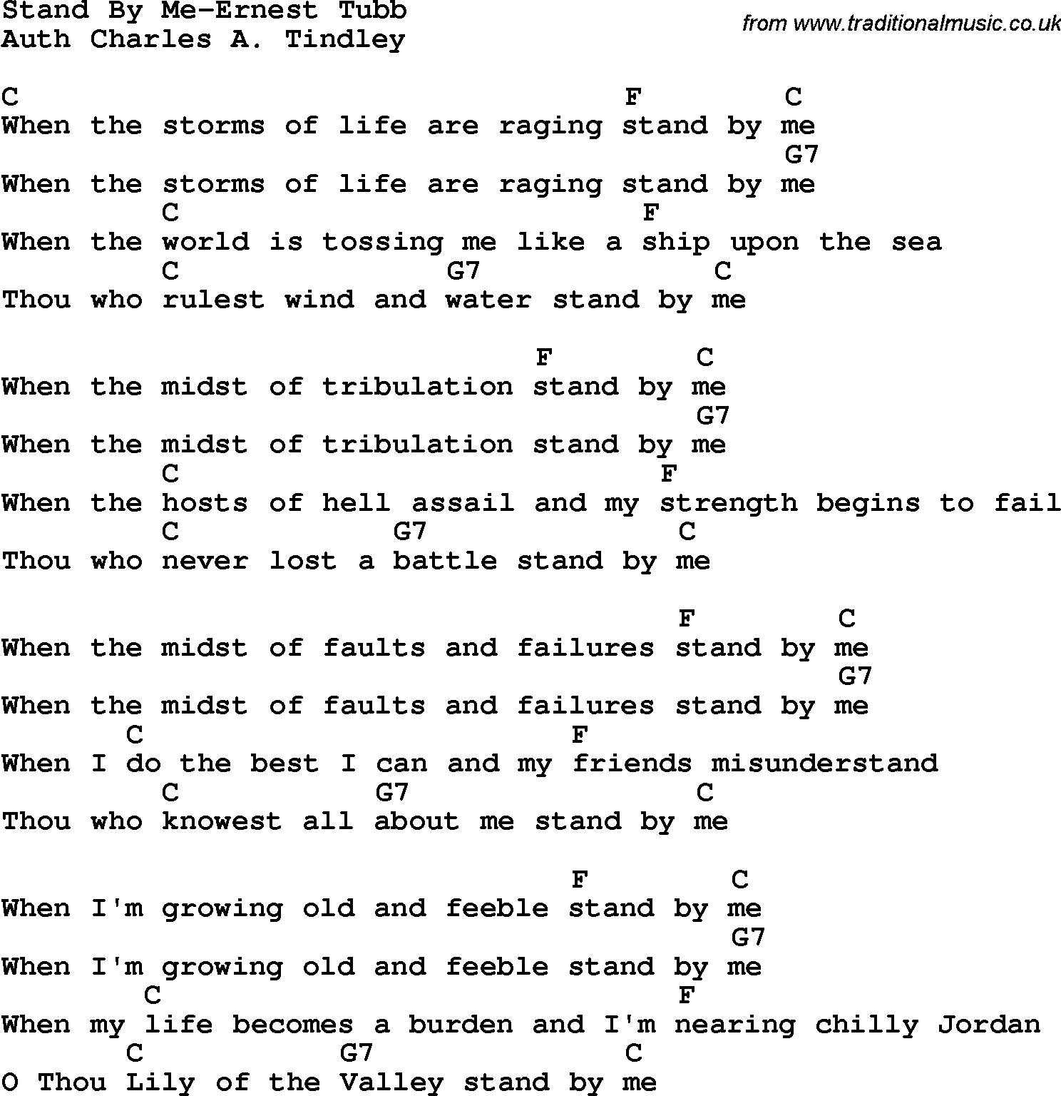 Stand By Me Chords Country Southern And Bluegrass Gospel Song Stand Me Ernest Tubb