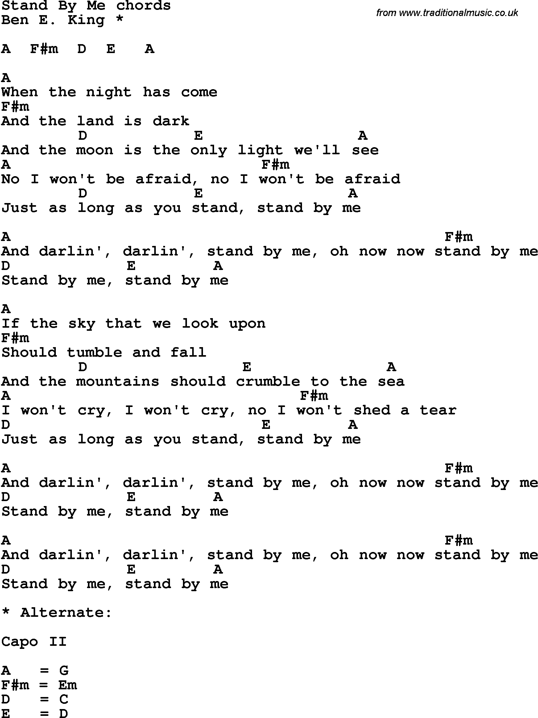 Stand By Me Chords Song Lyrics With Guitar Chords For Stand Me
