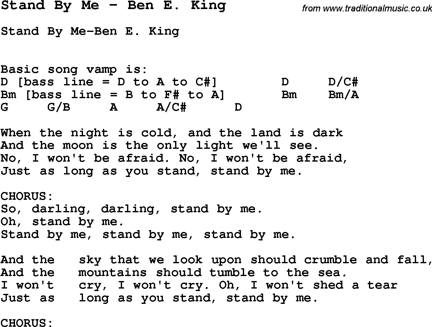 Stand By Me Chords Song Stand Me Ben E King Song Lyric For Vocal Performance