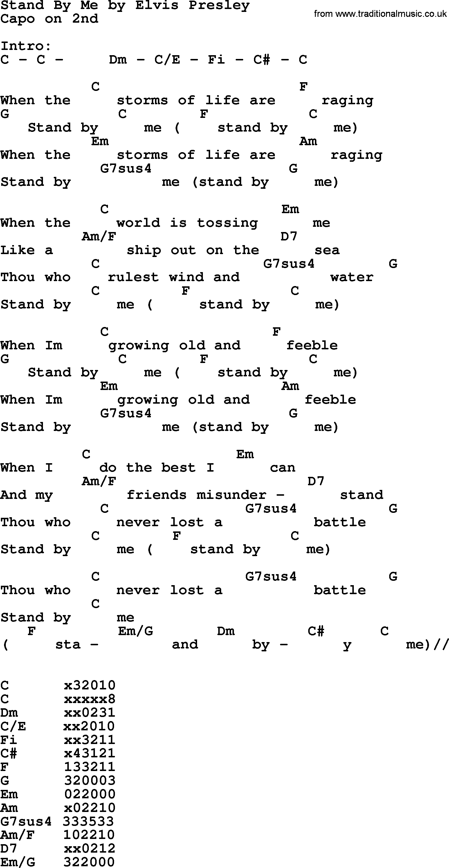 Stand By Me Chords Stand Me Elvis Presley Lyrics And Chords