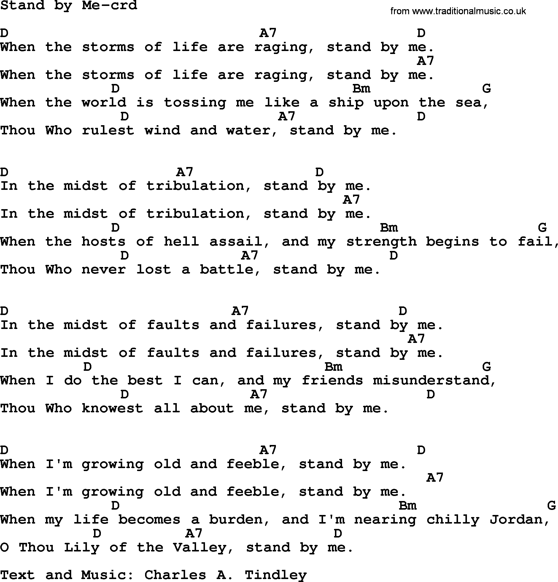 Stand By Me Chords Top 500 Hymn Stand Me Lyrics Chords And Pdf