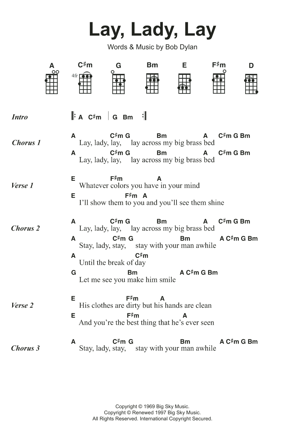 Stay With Me Ukulele Chords Lay Lady Lay Sheet Music Bob Dylan Ukulele Chordslyrics