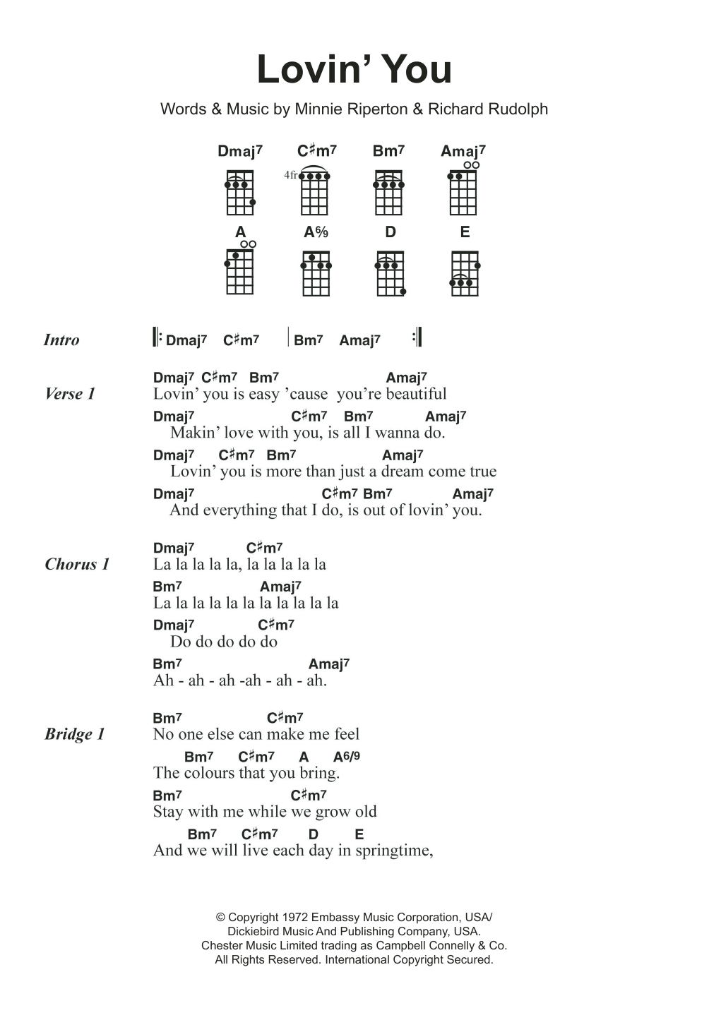 Stay With Me Ukulele Chords Lovin You Minnie Riperton Ukulele Guitar Instructor