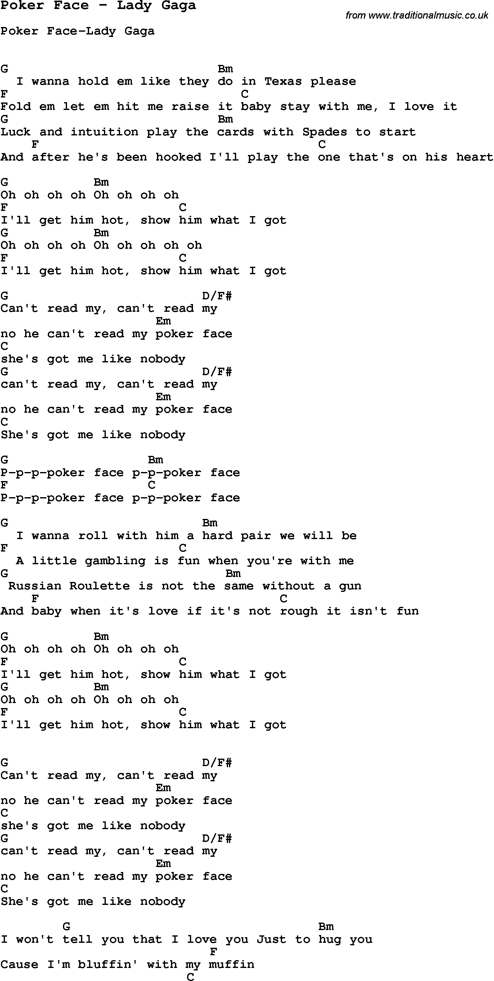 Stay With Me Ukulele Chords Song Poker Face Lady Gaga Song Lyric For Vocal Performance Plus