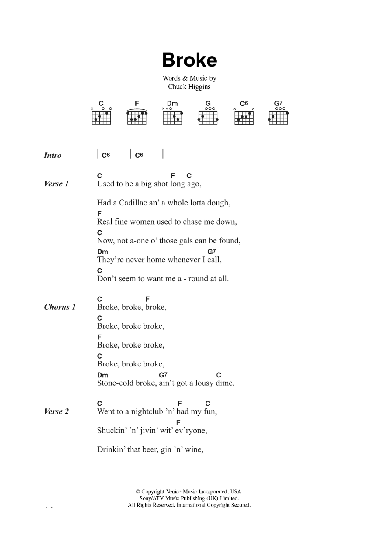 Stone Cold Chords Broke Chuck Higgins Guitar Chordslyrics Digital Sheet Music