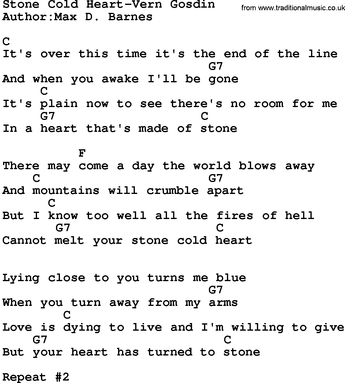 Stone Cold Chords Country Musicstone Cold Heart Vern Gosdin Lyrics And Chords