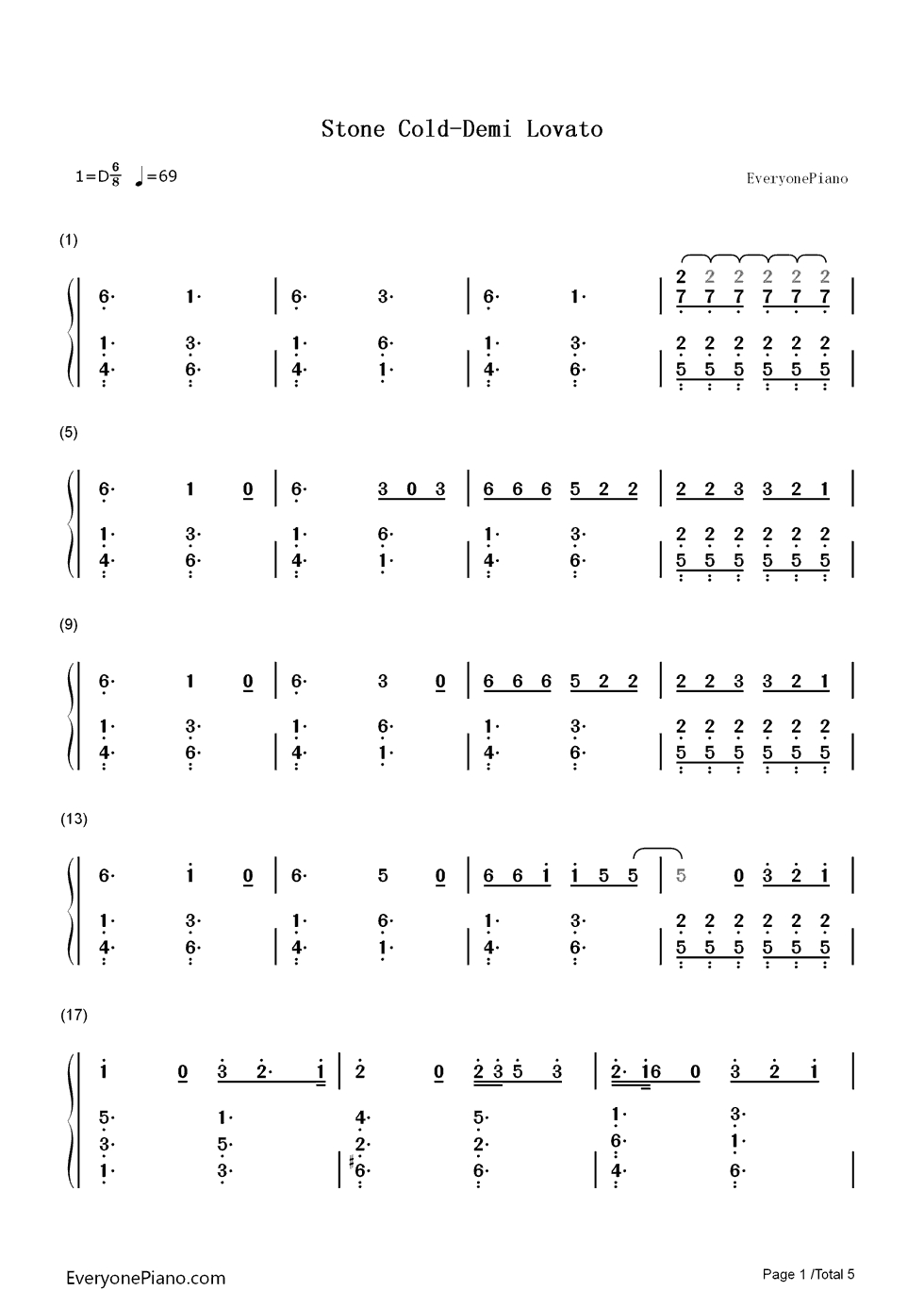 Stone Cold Chords Stone Cold Demi Lovato Numbered Musical Notation Preview