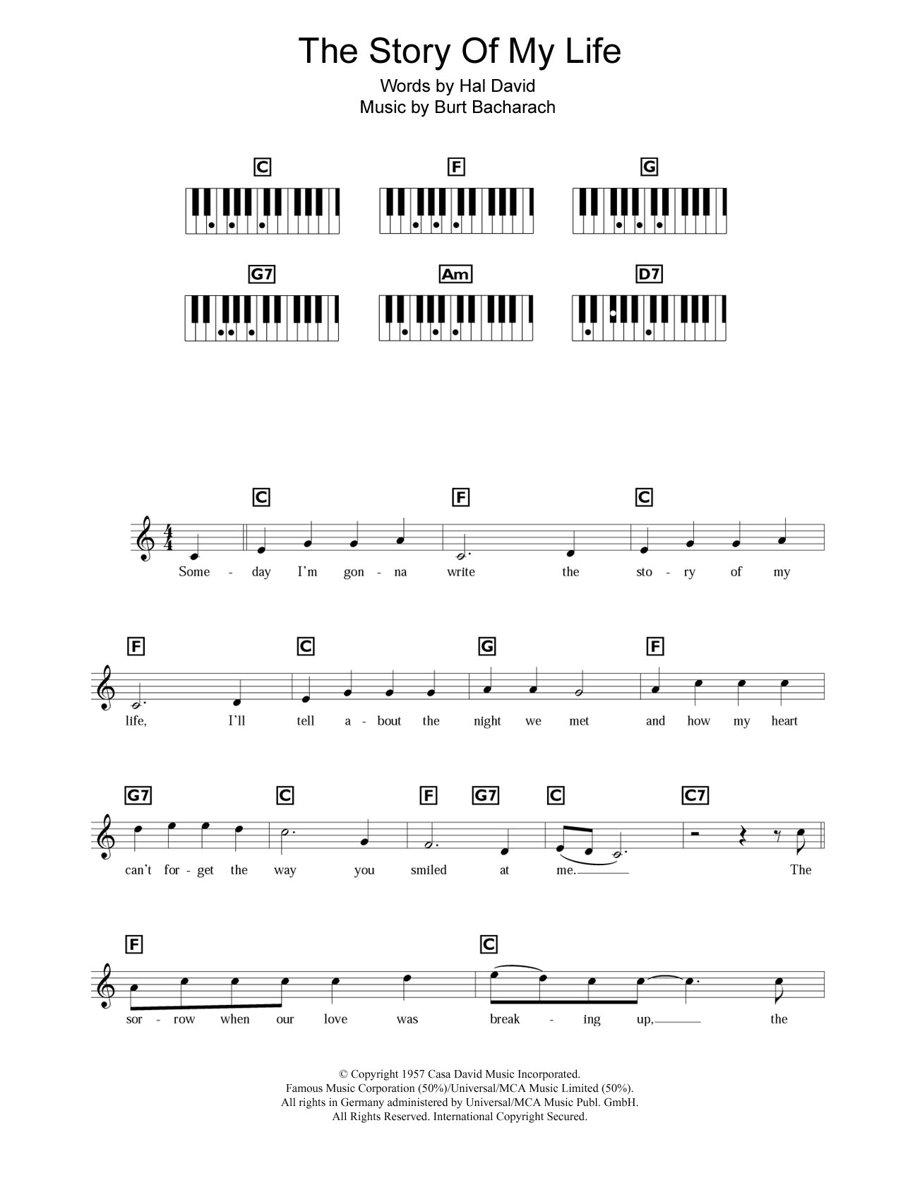 Story Of My Life Chords The Story Of My Life Burt Bacharach Piano Vocal Guitar Digital Sheet Music
