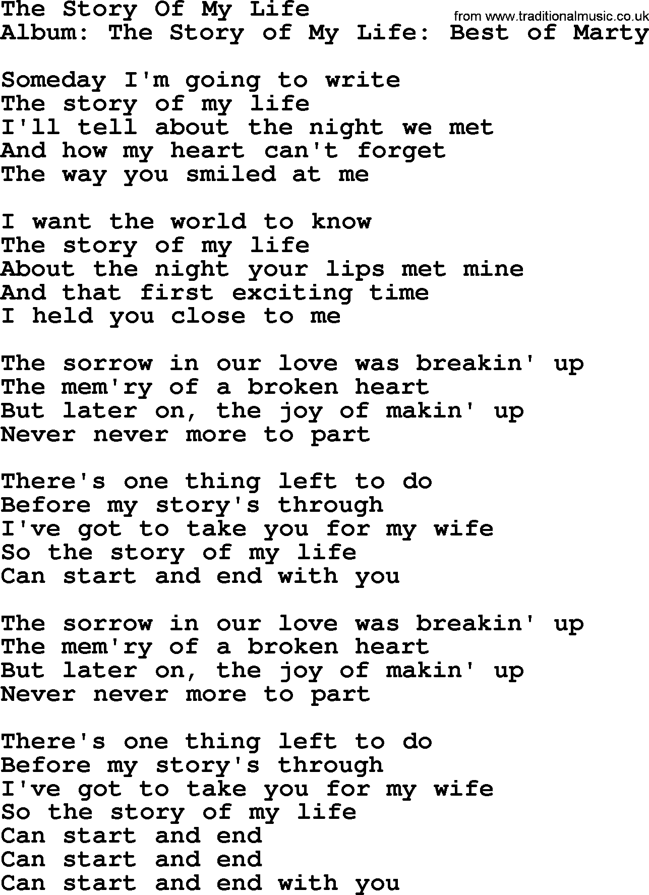 Story Of My Life Chords The Story Of My Life Marty Robbins Lyrics
