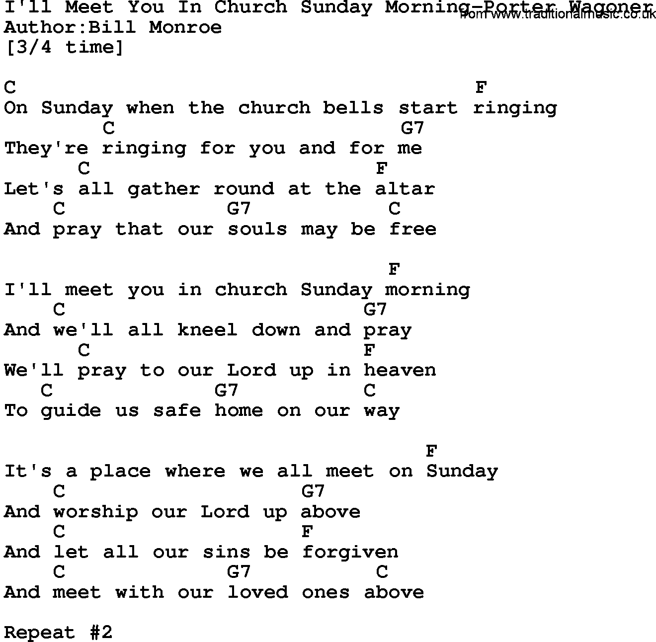 Sunday Morning Chords Country Musicill Meet You In Church Sunday Morning Porter Wagoner
