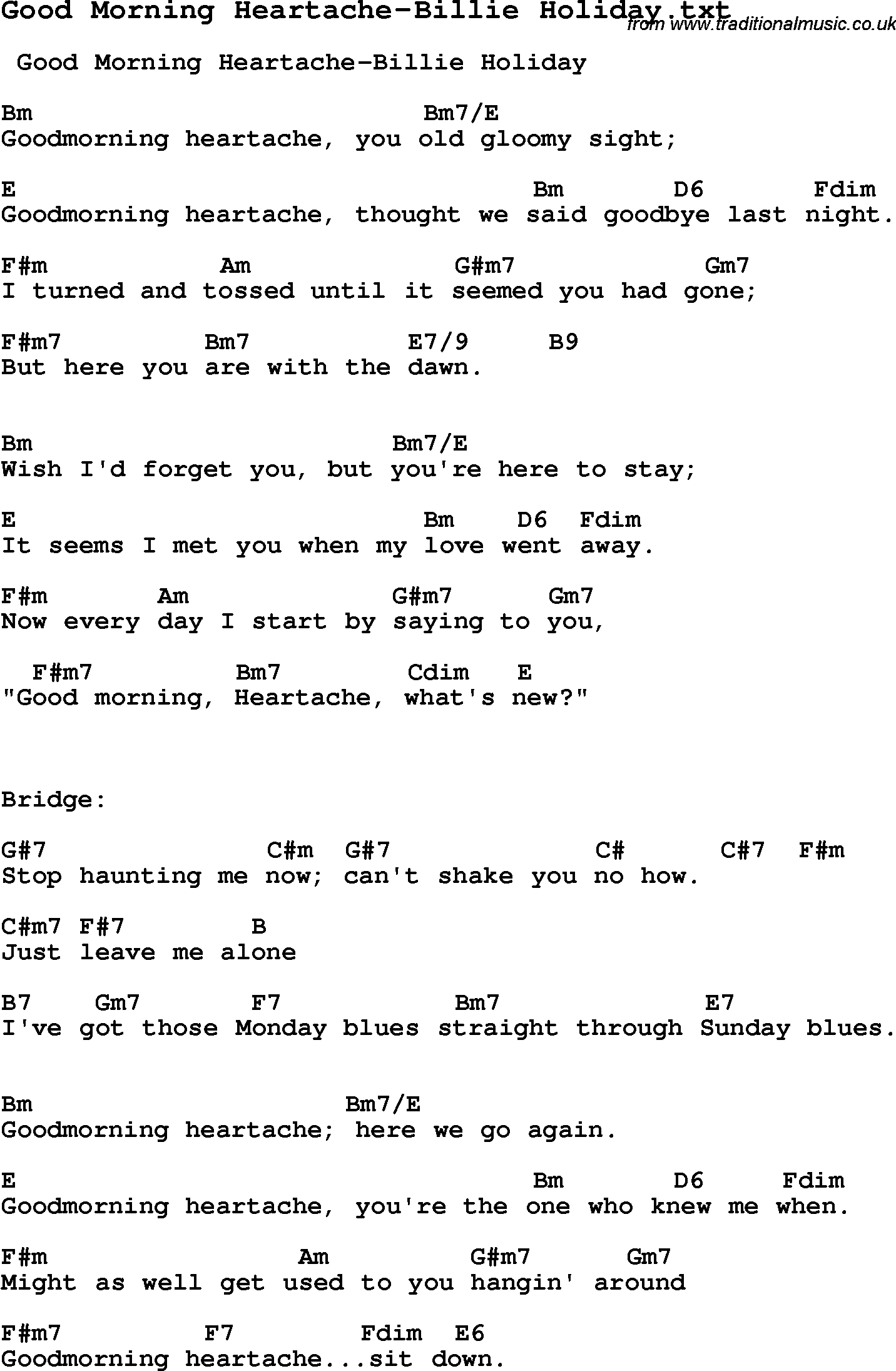Sunday Morning Chords Jazz Song Good Morning Heartache Billie Holiday With Chords Tabs
