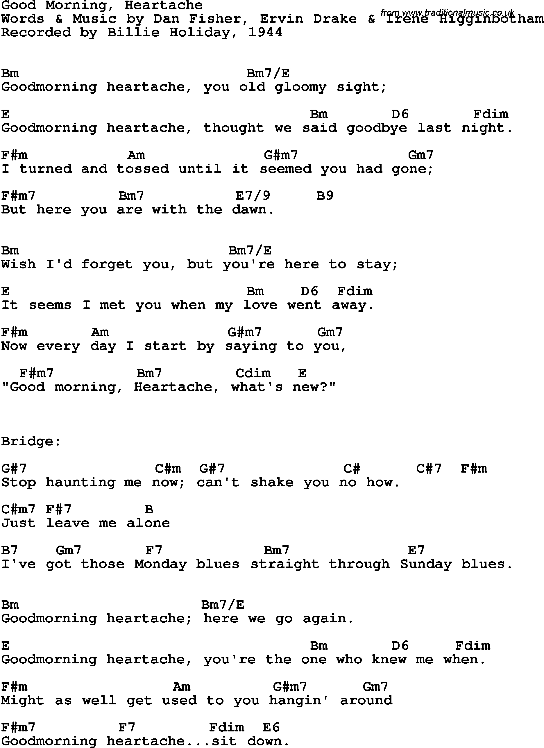 Sunday Morning Chords Song Lyrics With Guitar Chords For Good Morning Heartache Billie