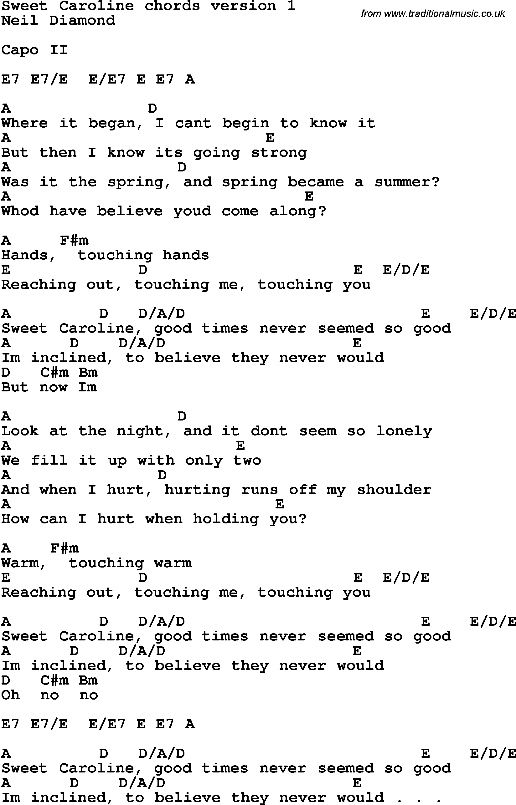Sweet Caroline Chords Song Lyrics With Guitar Chords For Sweet Caroline