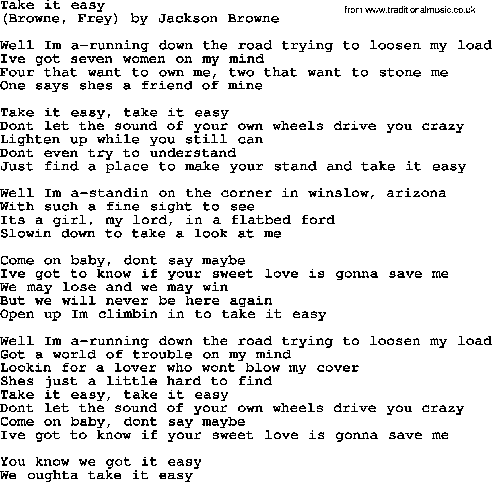 Take It Easy Chords Bruce Springsteen Song Take It Easy Lyrics