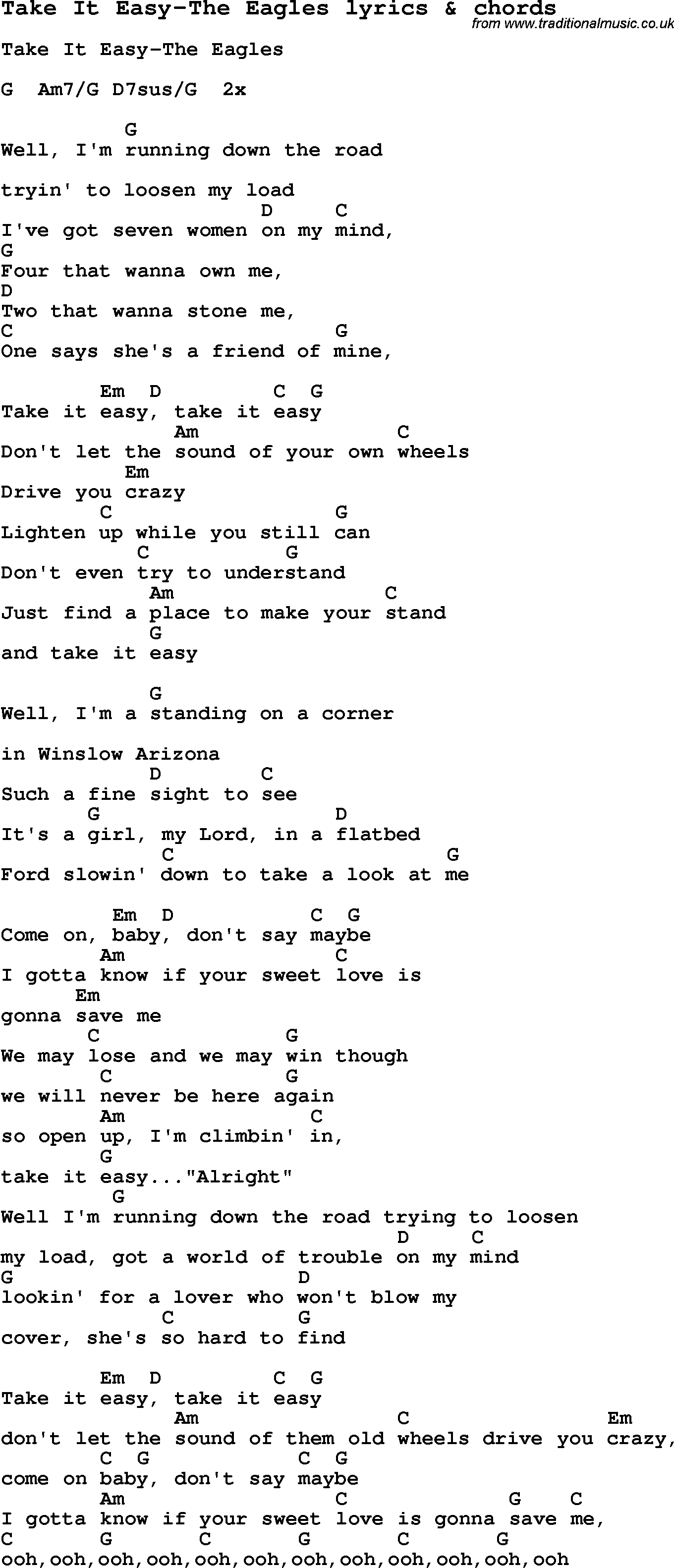 Take It Easy Chords Love Song Lyrics Fortake It Easy The Eagles With Chords