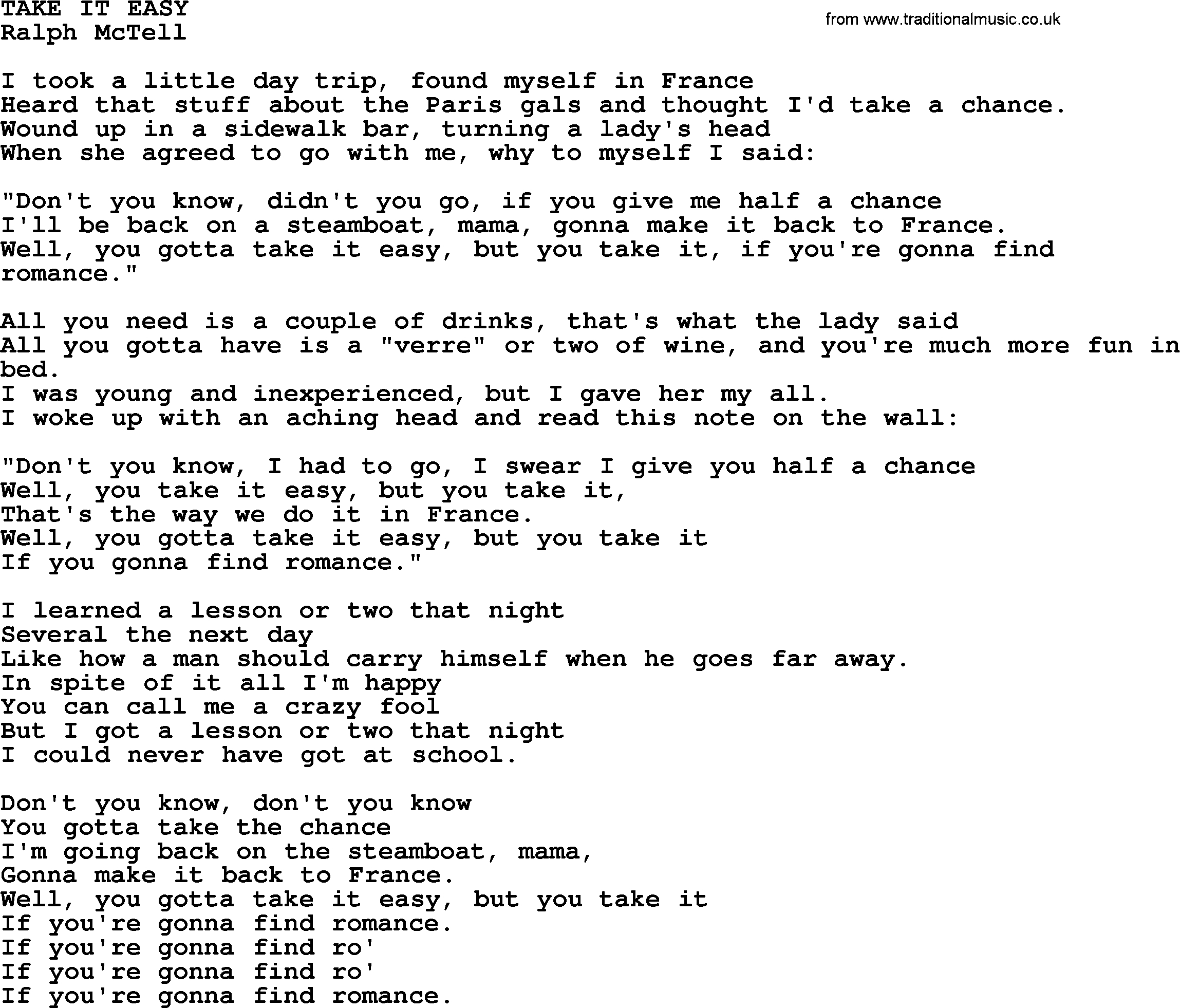 Take It Easy Chords Take It Easytxt Ralph Mctell Lyrics And Chords