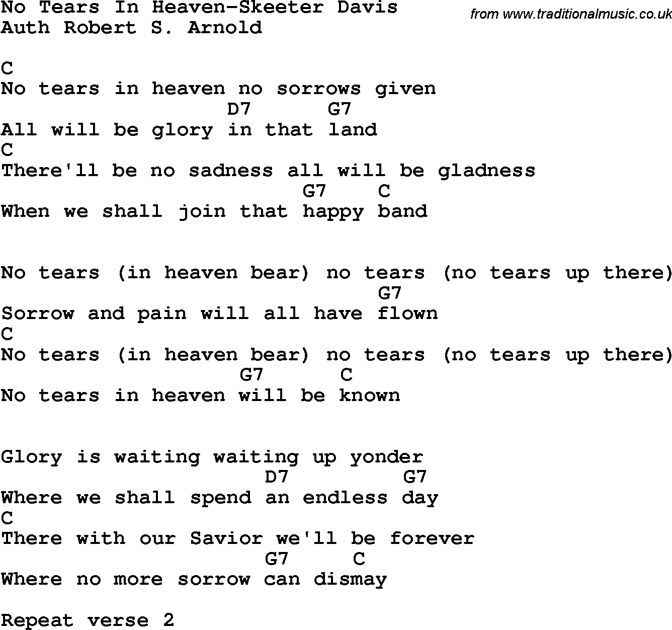 Tears In Heaven Chords Country Southern And Bluegrass Gospel Song No Tears In Heaven