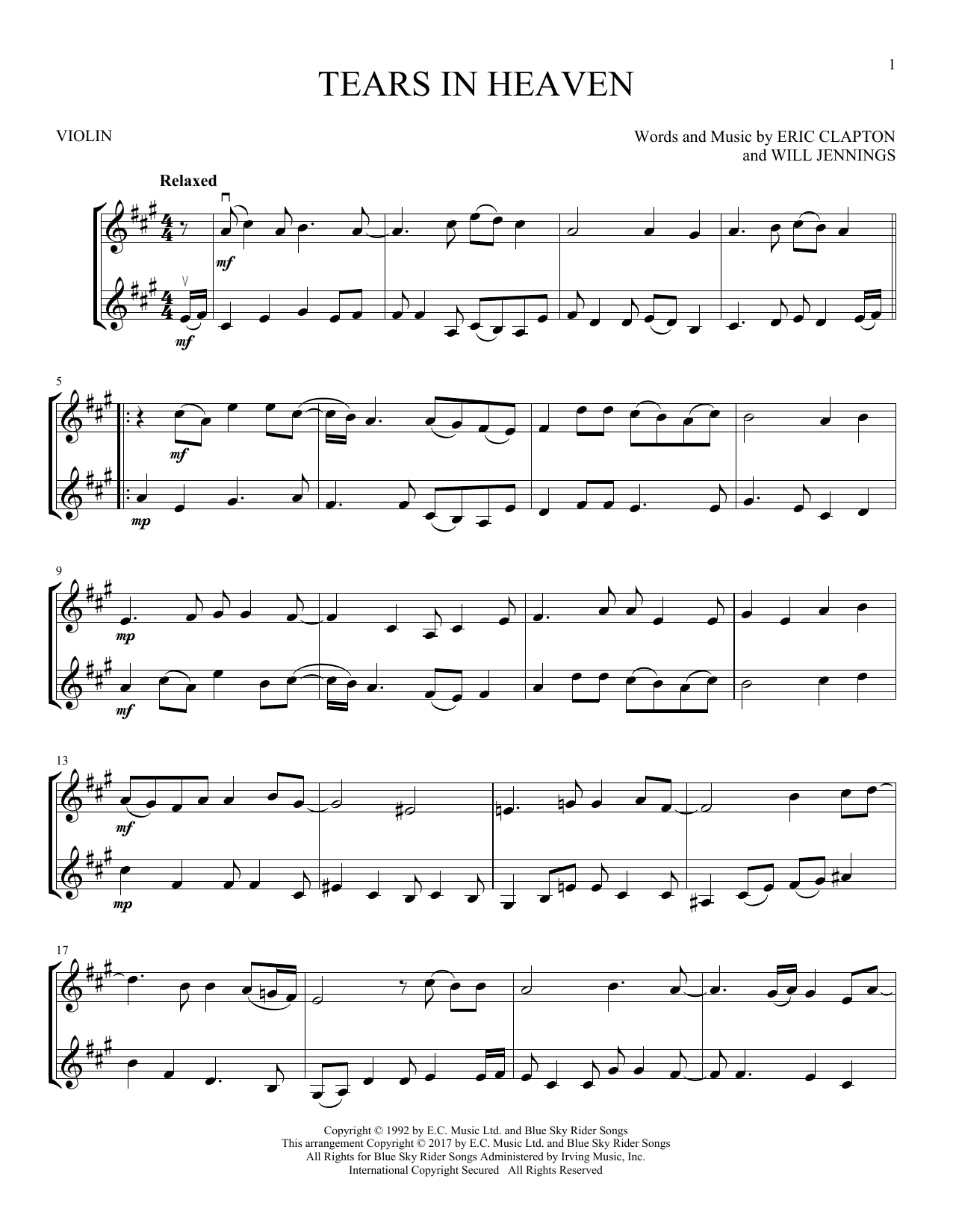 Tears In Heaven Chords Eric Clapton Tears In Heaven Sheet Music Notes Chords Download Printable Vlndt Sku 253145