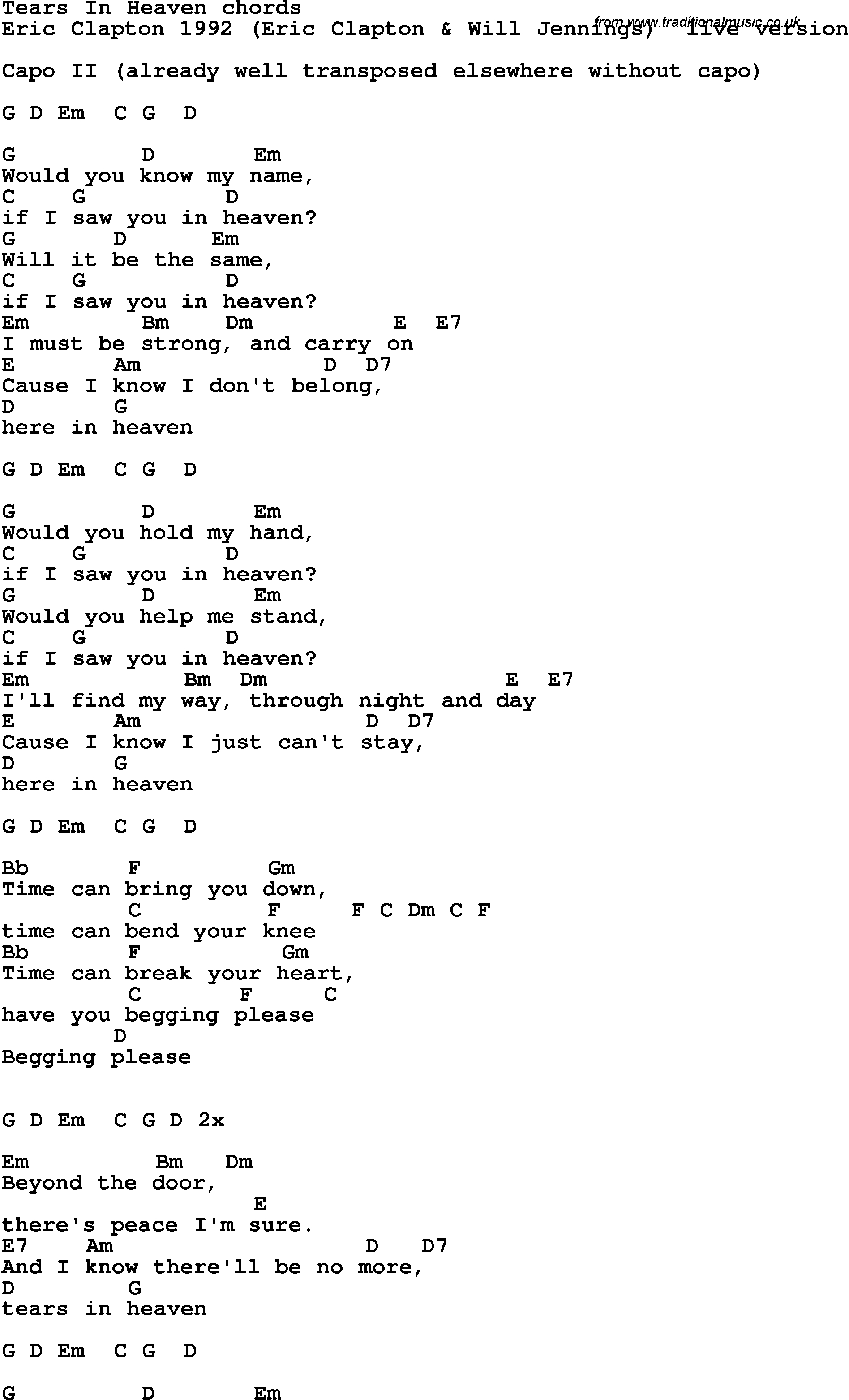 Tears In Heaven Chords Song Lyrics With Guitar Chords For Tears In Heaven Eric Clapton