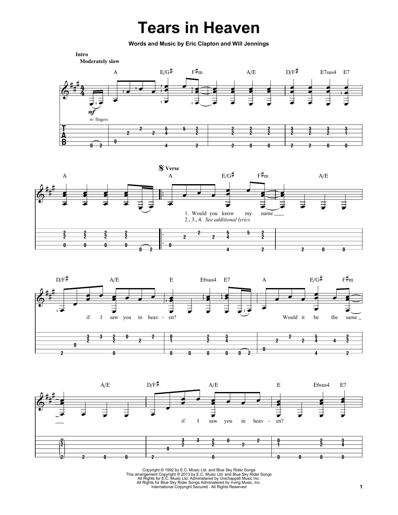 Tears In Heaven Chords Tears In Heaven Eric Clapton Piano Vocal Guitar Right Hand Melody Digital Sheet Music
