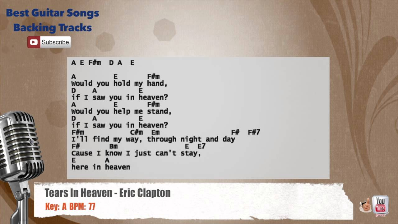Tears In Heaven Chords Tears In Heaven Eric Clapton Vocal Backing Track With Chords And Lyrics