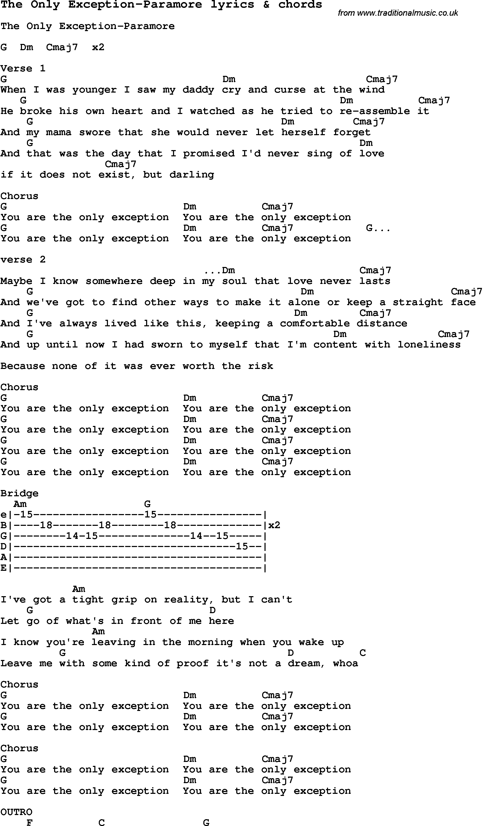 The Only Exception Chords Love Song Lyrics Forthe Only Exception Paramore With Chords