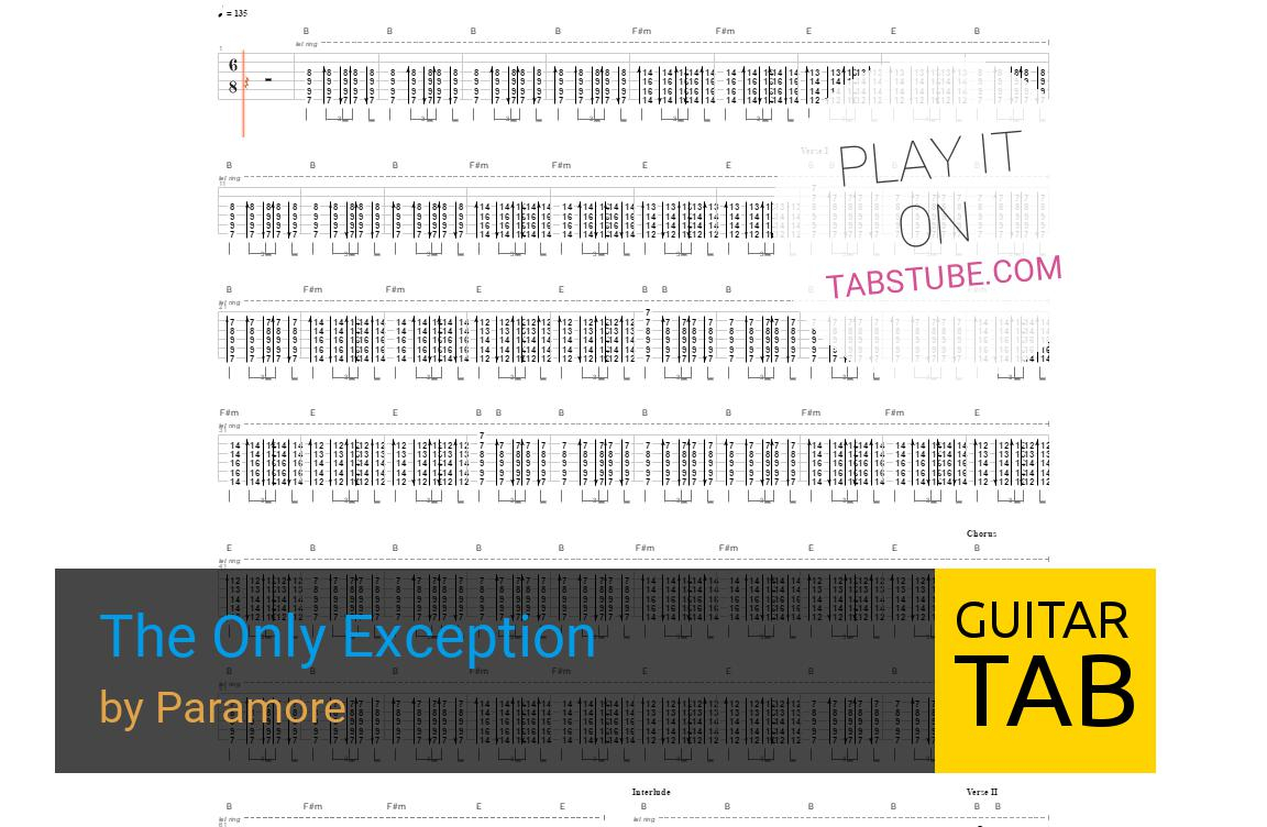 The Only Exception Chords Paramore The Only Exception Guitar Tab And Chords Online View
