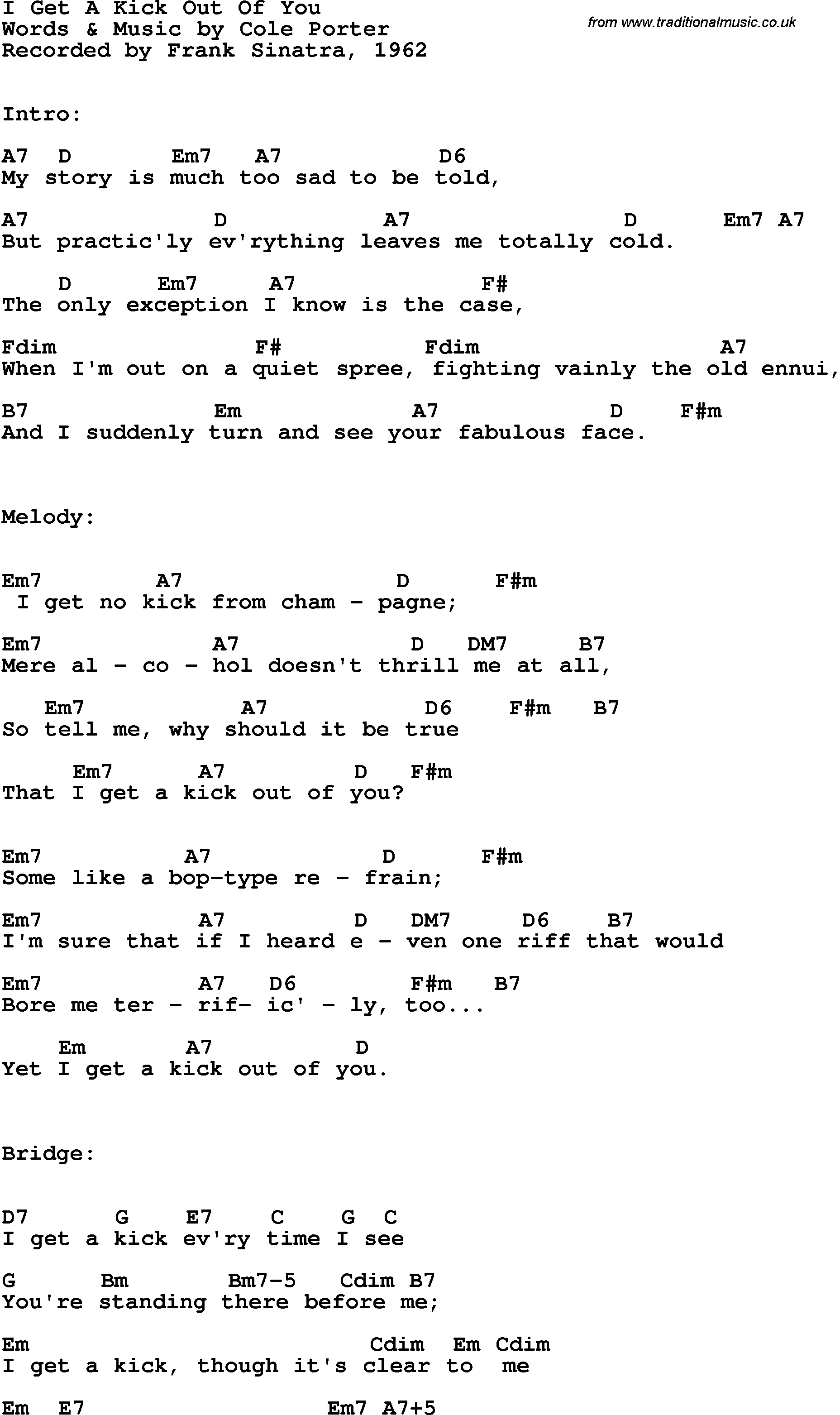 The Only Exception Chords Song Lyrics With Guitar Chords For I Get A Kick Out Of You Frank