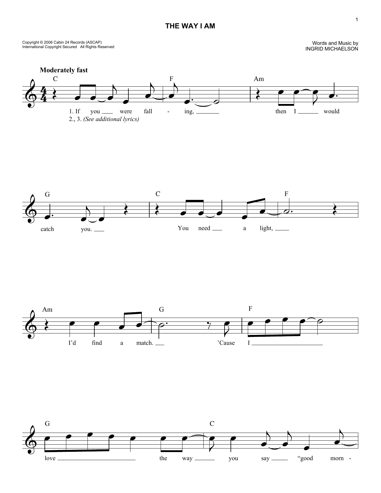 The Way I Am Chords The Way I Am Ingrid Michaelson Piano Vocal Guitar Right Hand Melody Digital Sheet Music