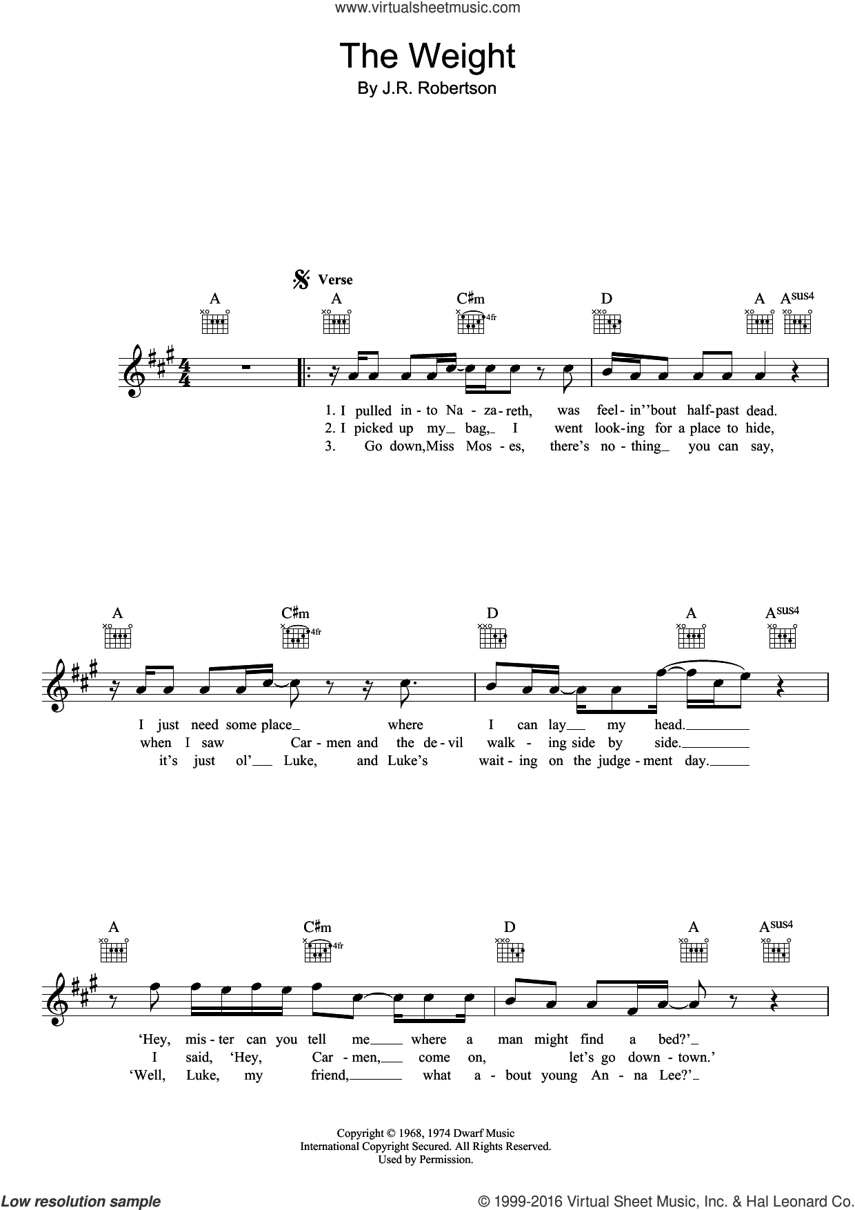 The Weight Chords Band The Weight Sheet Music Fake Book Pdf