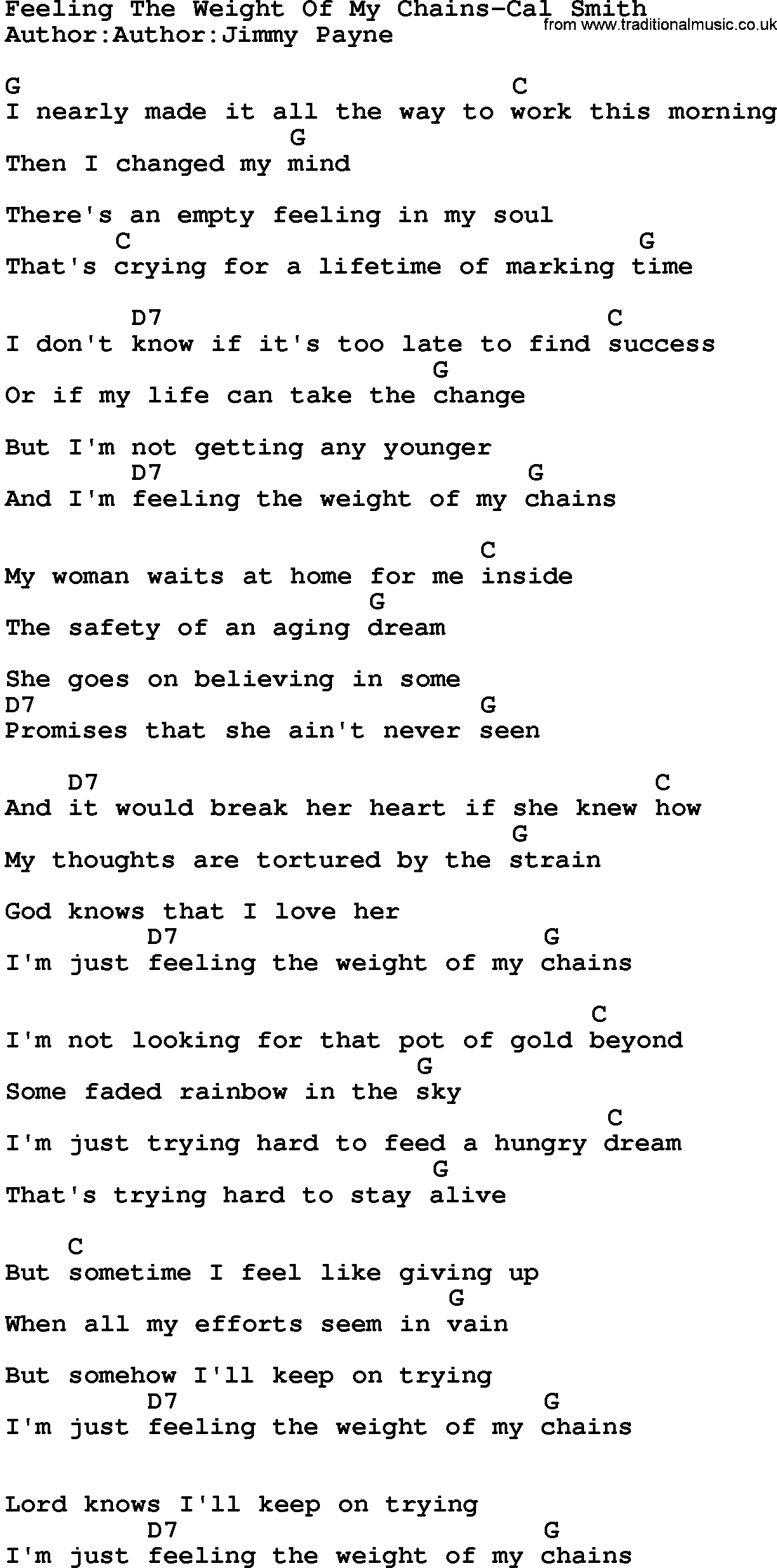 The Weight Chords Country Musicfeeling The Weight Of My Chains Cal Smith Lyrics And