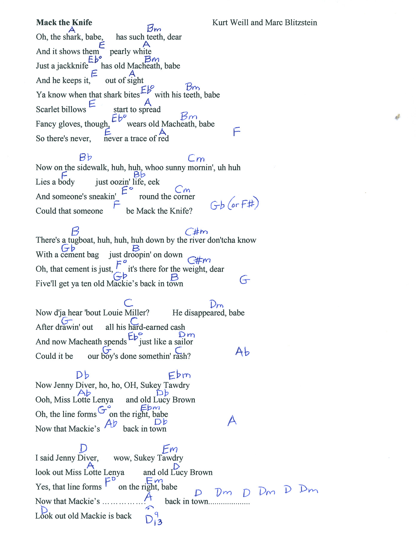 The Weight Chords Mack The Knife Lyrics And Chords Mightyturk