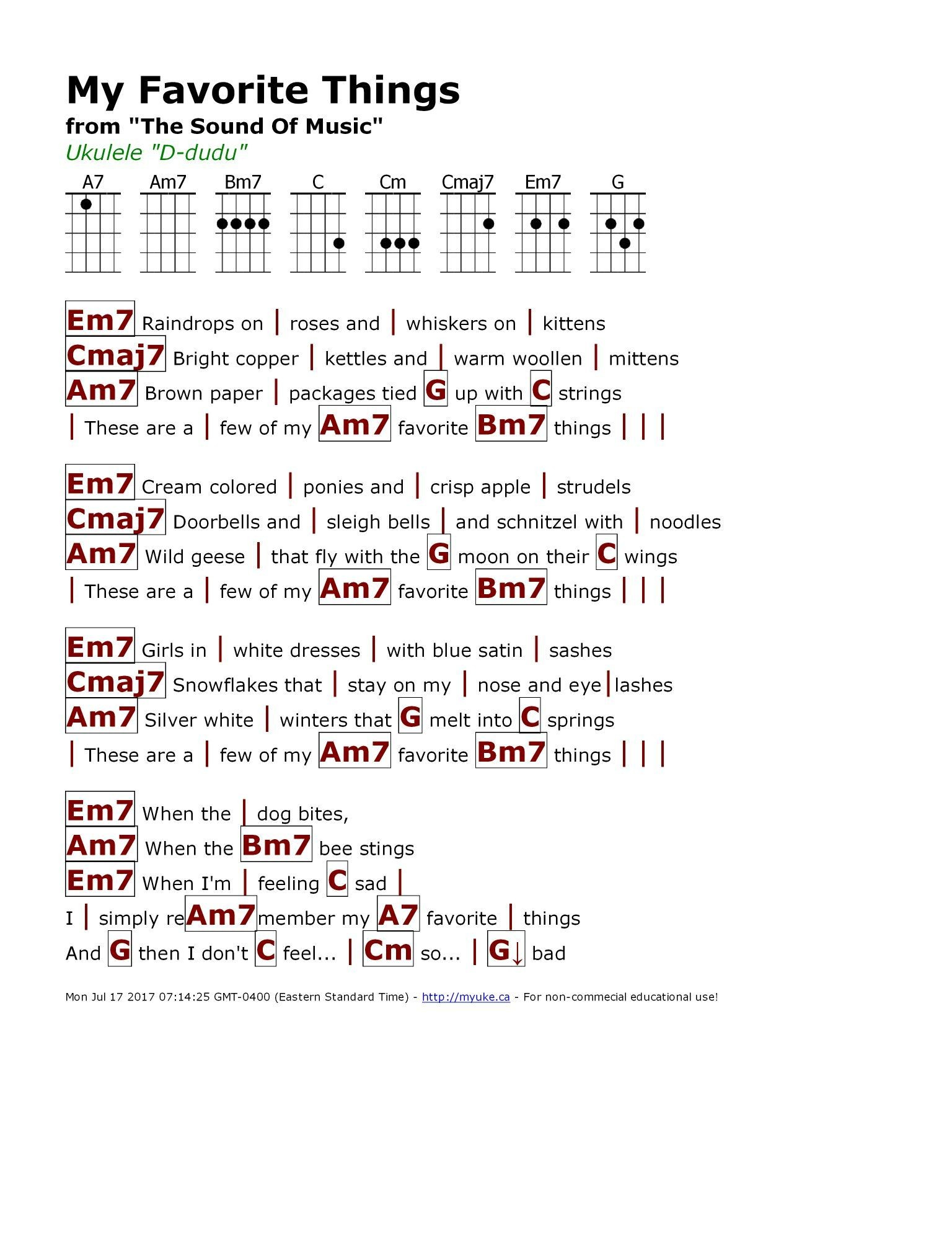 The Weight Chords My Favorite Things Chart Chord Chart With Sound Kiwi Ukulele Chord