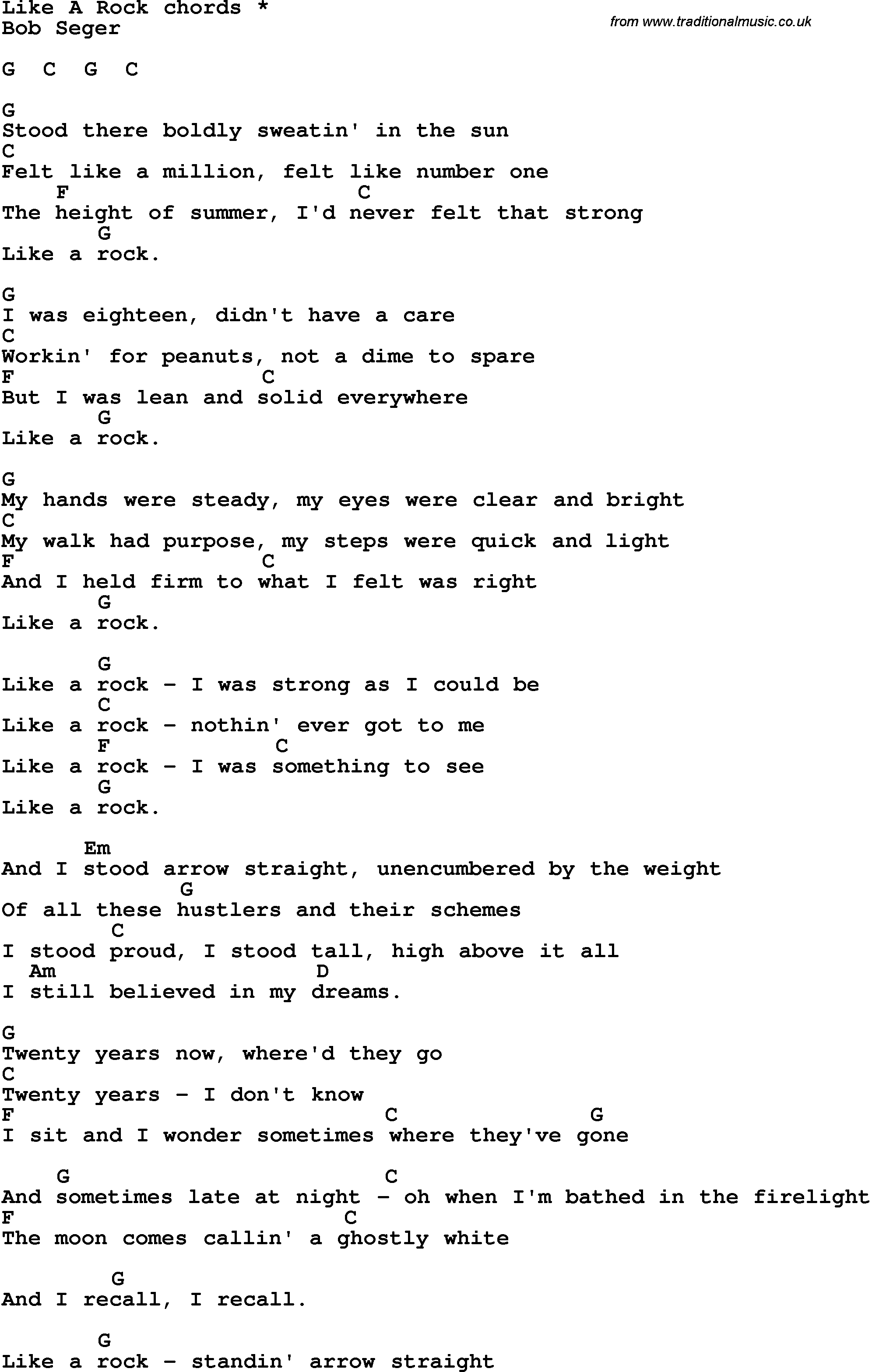 The Weight Chords Song Lyrics With Guitar Chords For Like A Rock
