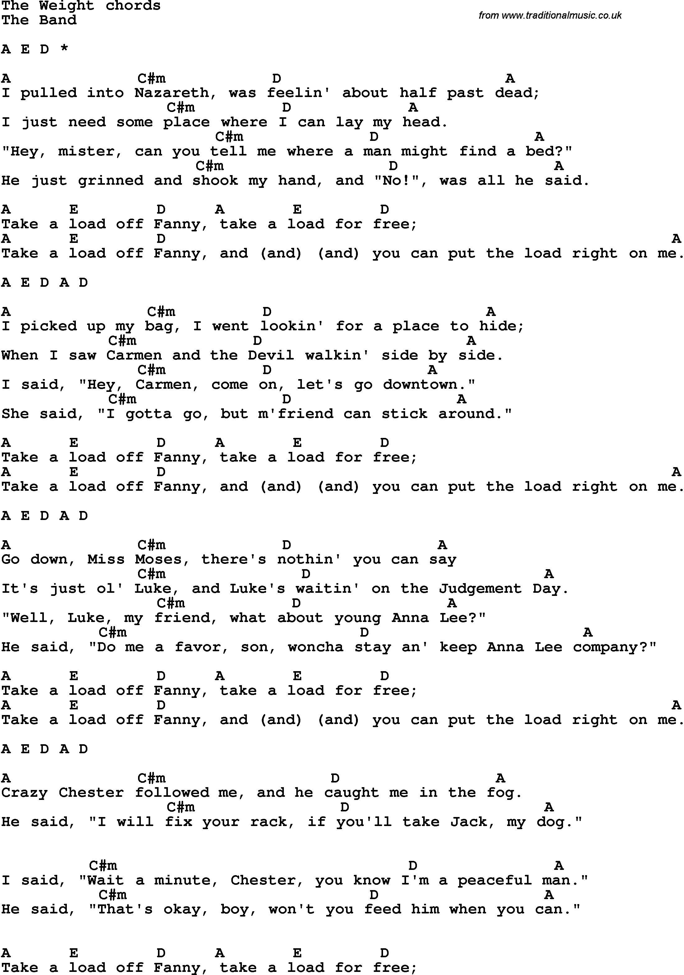 The Weight Chords Song Lyrics With Guitar Chords For The Weight The Band