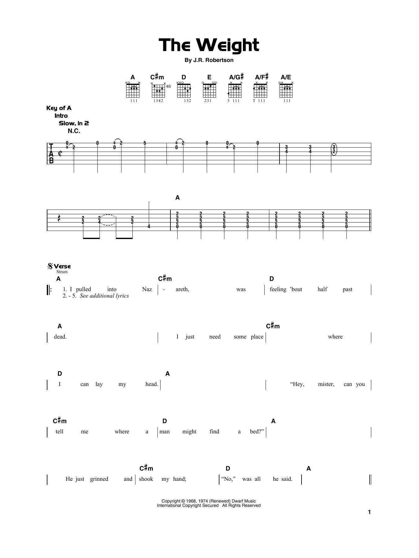 The Weight Chords The Band The Weight Sheet Music Notes Chords Download Printable Really Easy Guitar Sku 415303