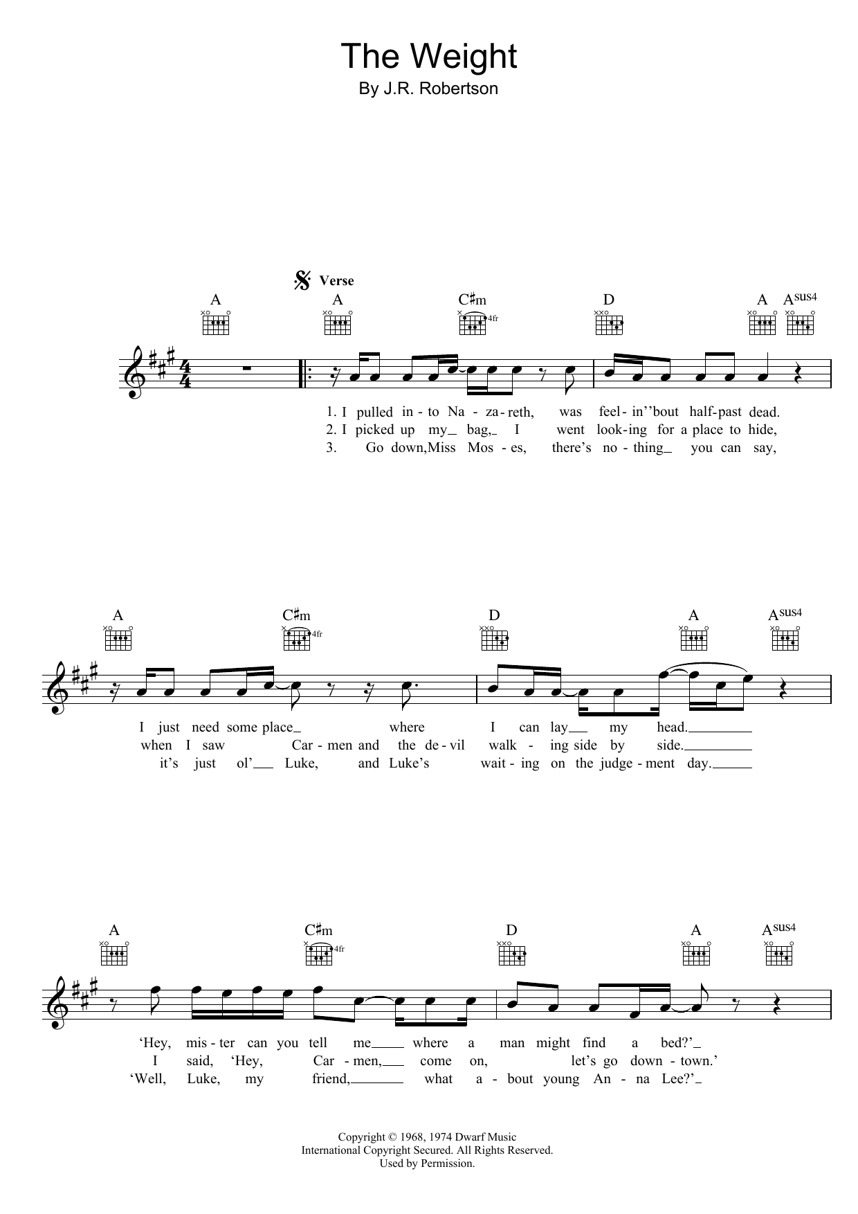 The Weight Chords The Weight The Band Piano Vocal Guitar Right Hand Melody Digital Sheet Music