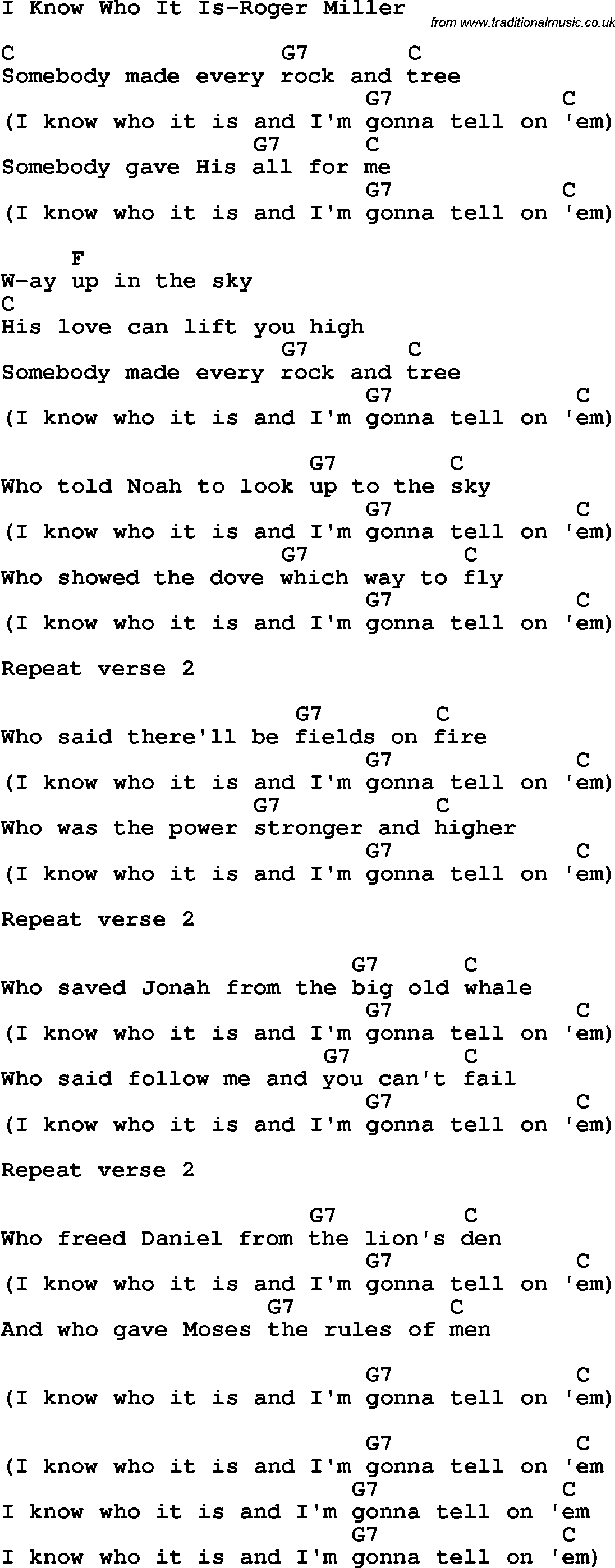 This Is Gospel Chords Country Southern And Bluegrass Gospel Song I Know Who It Is Roger