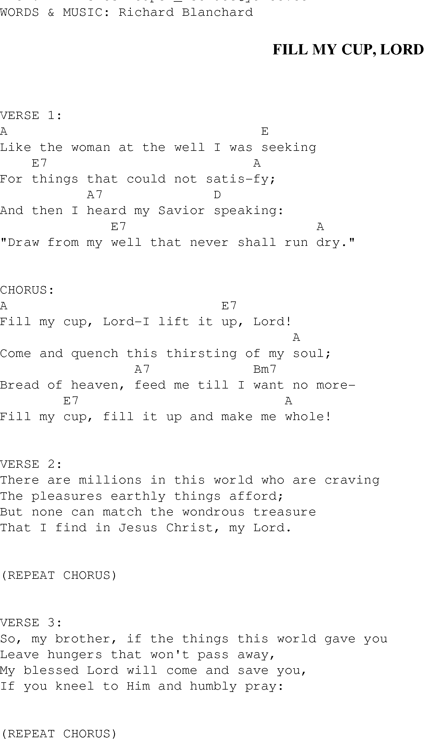 This Is Gospel Chords Fill My Cup Lord Christian Gospel Song Lyrics And Chords